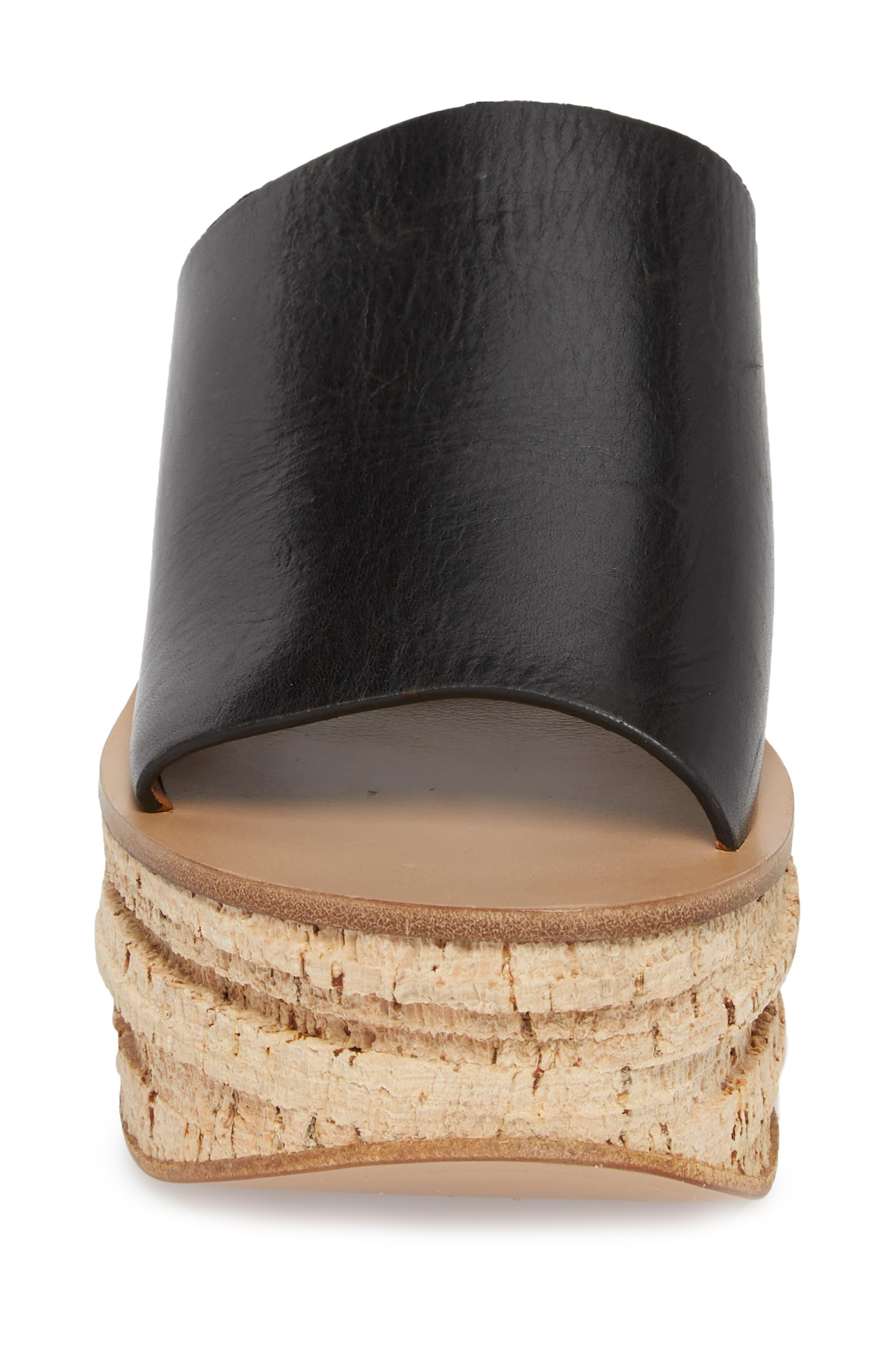 Camille Cork Platform Sandal,                             Alternate thumbnail 4, color,                             Black