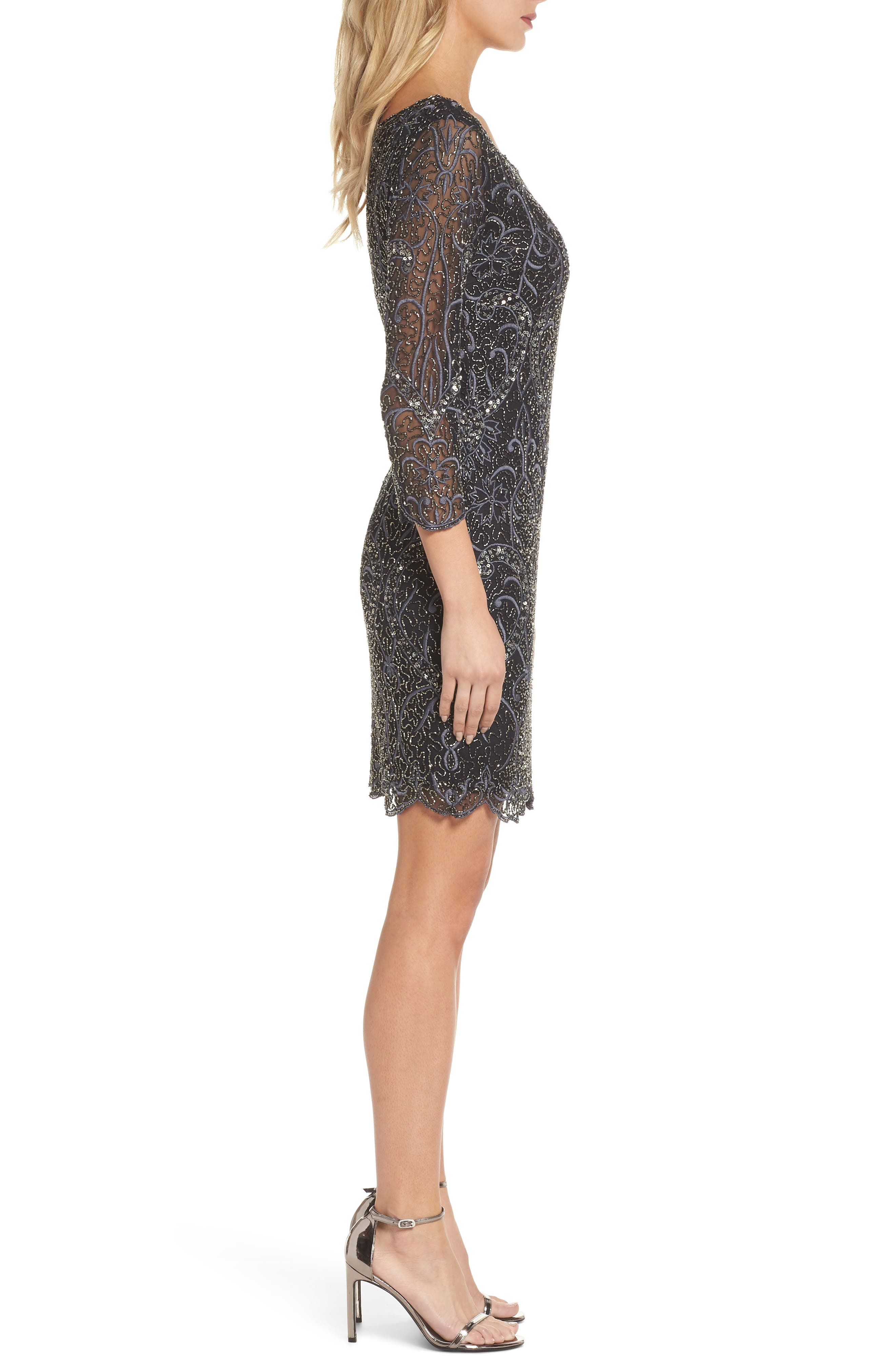 Embroidered Cocktail Dress,                             Alternate thumbnail 3, color,                             Black