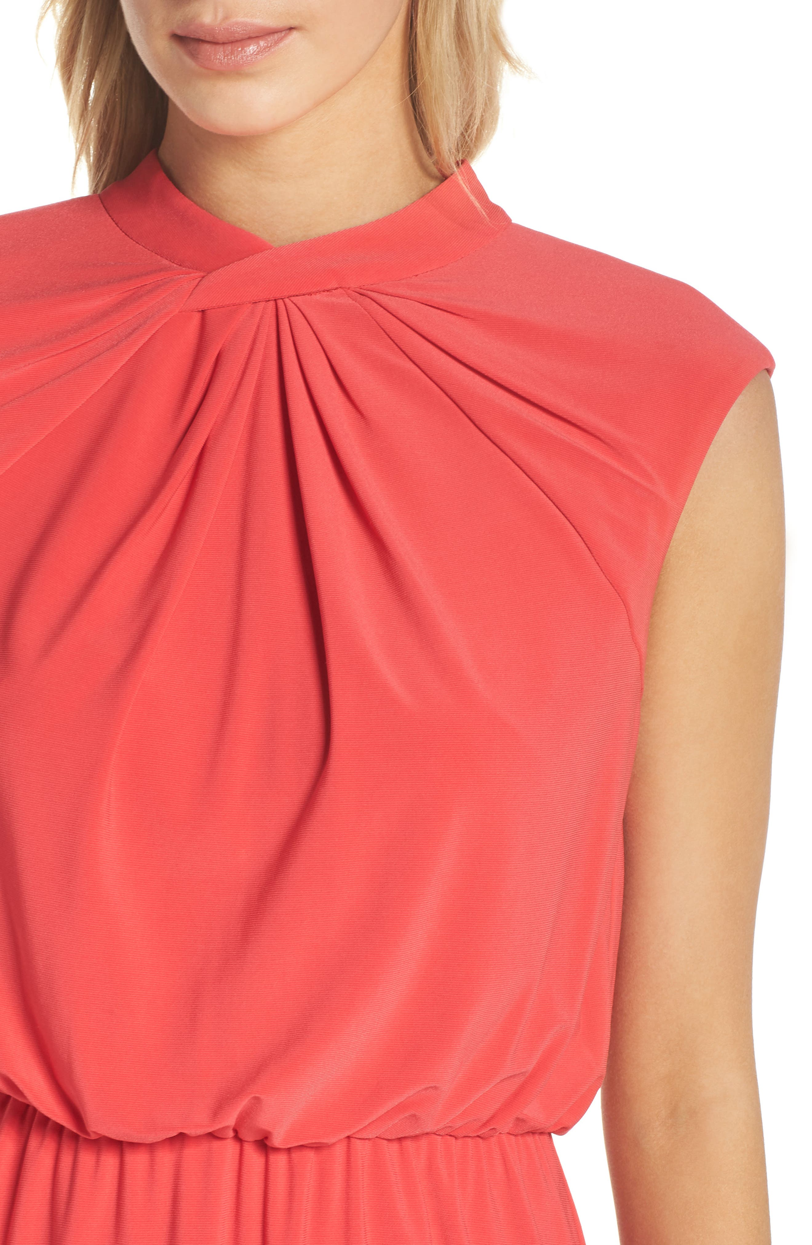 Twist Neck Jersey Blouson Dress,                             Alternate thumbnail 4, color,                             Geranium