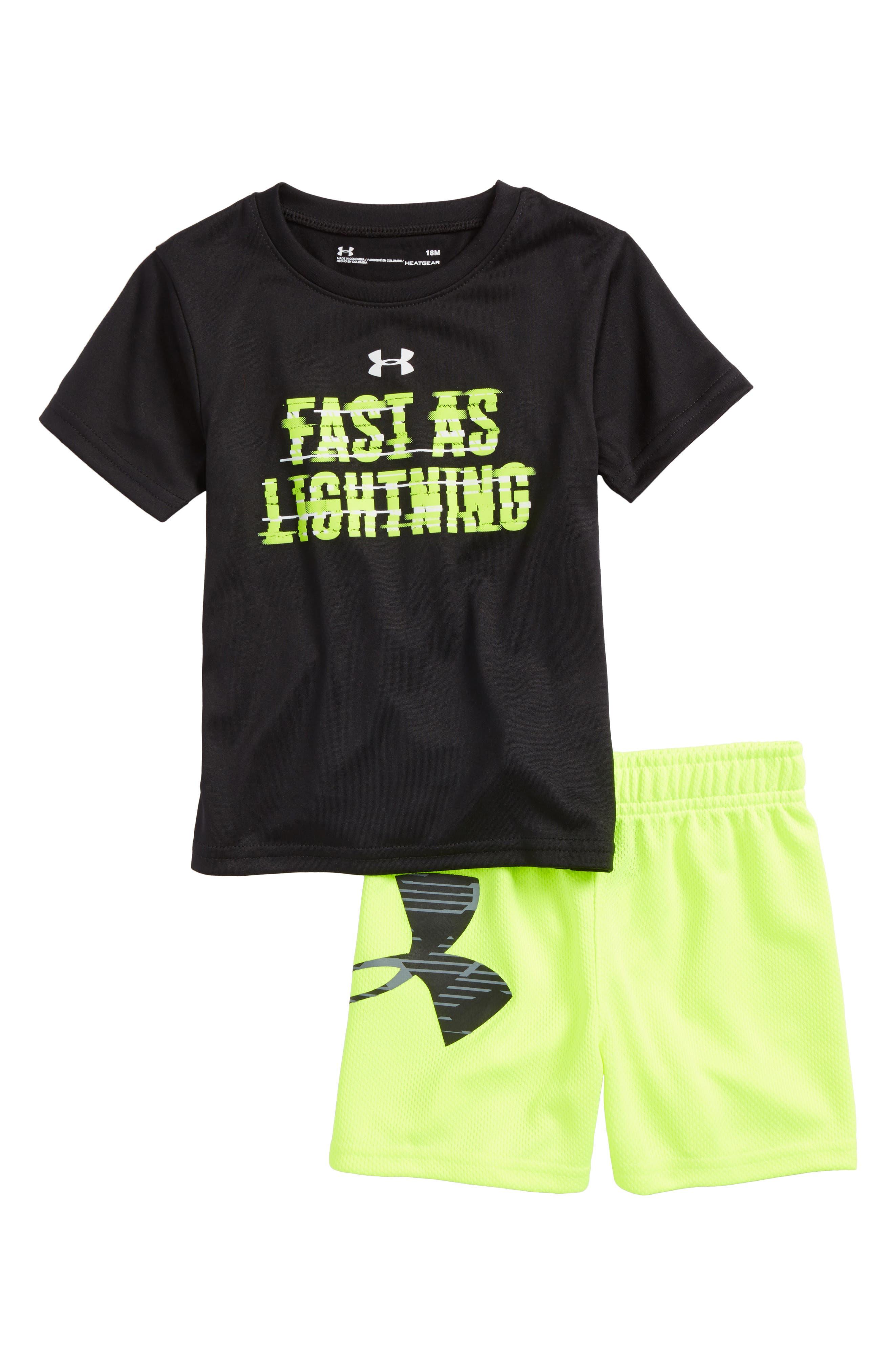 Fast As Lightning Shirt & Shorts Set,                             Main thumbnail 1, color,                             Black