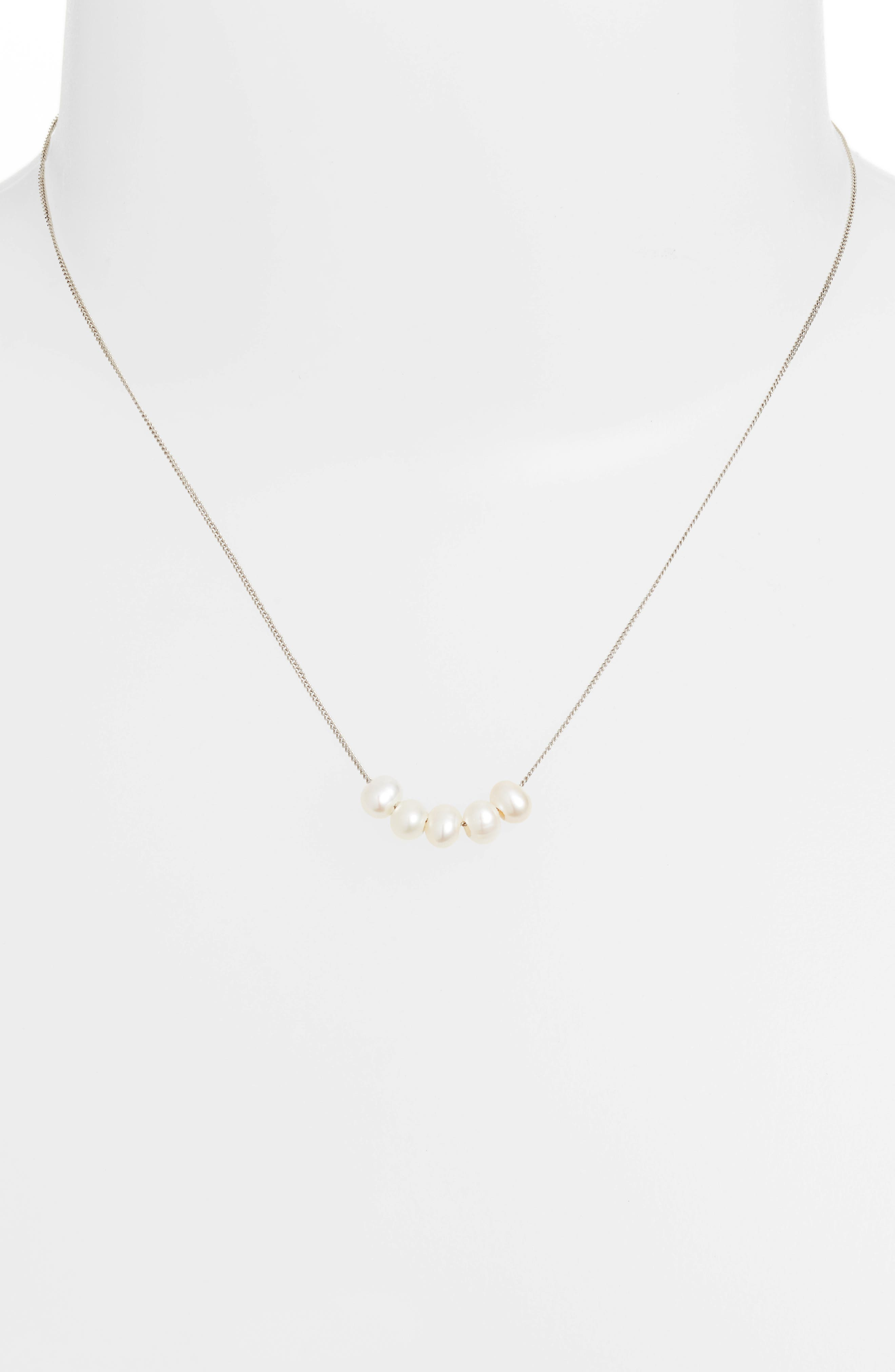Pearl Detail Layering Necklace,                             Alternate thumbnail 2, color,                             White Pearl