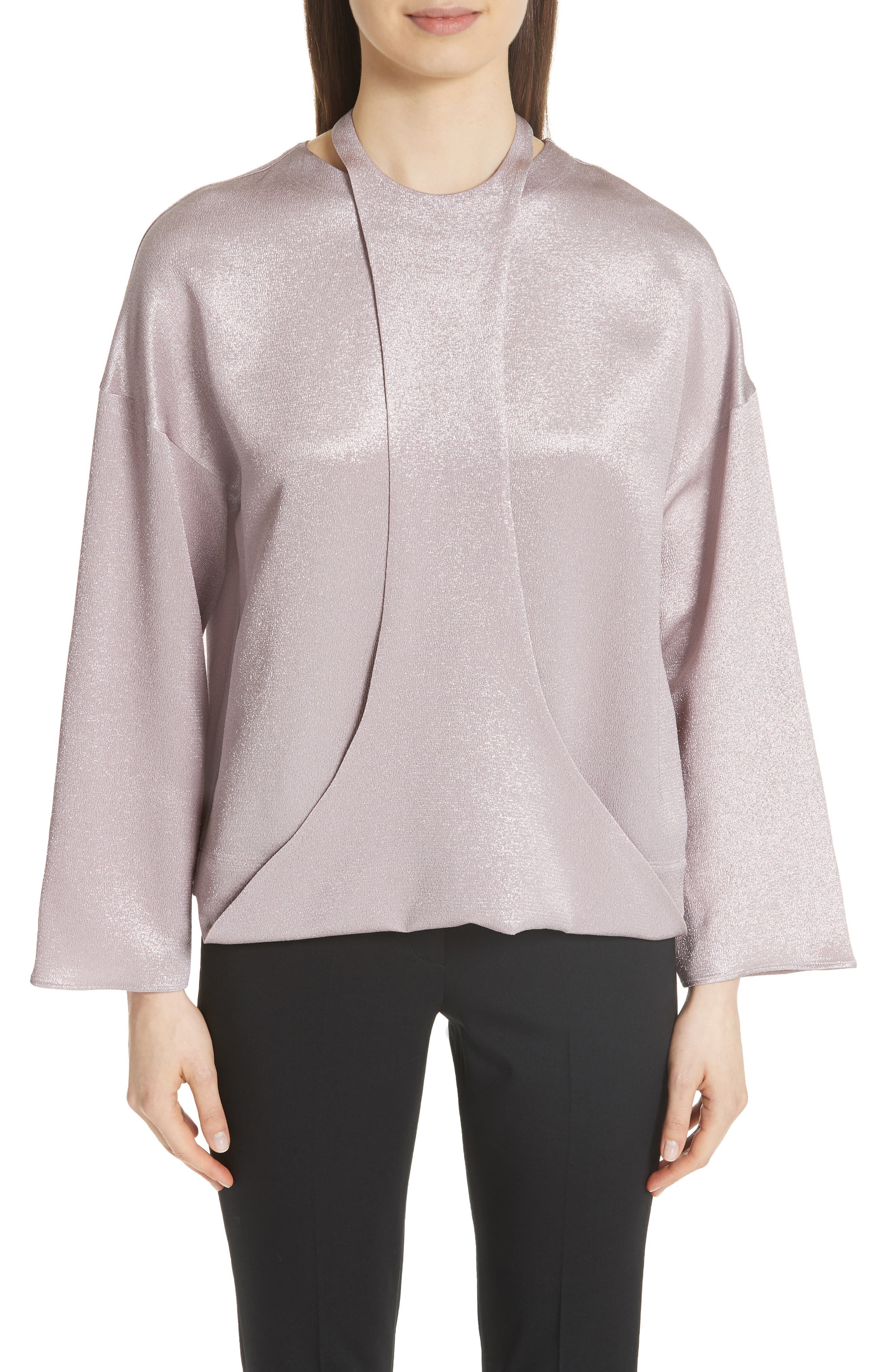 Harness Detail Hammered Lamé Top,                         Main,                         color, Lilac