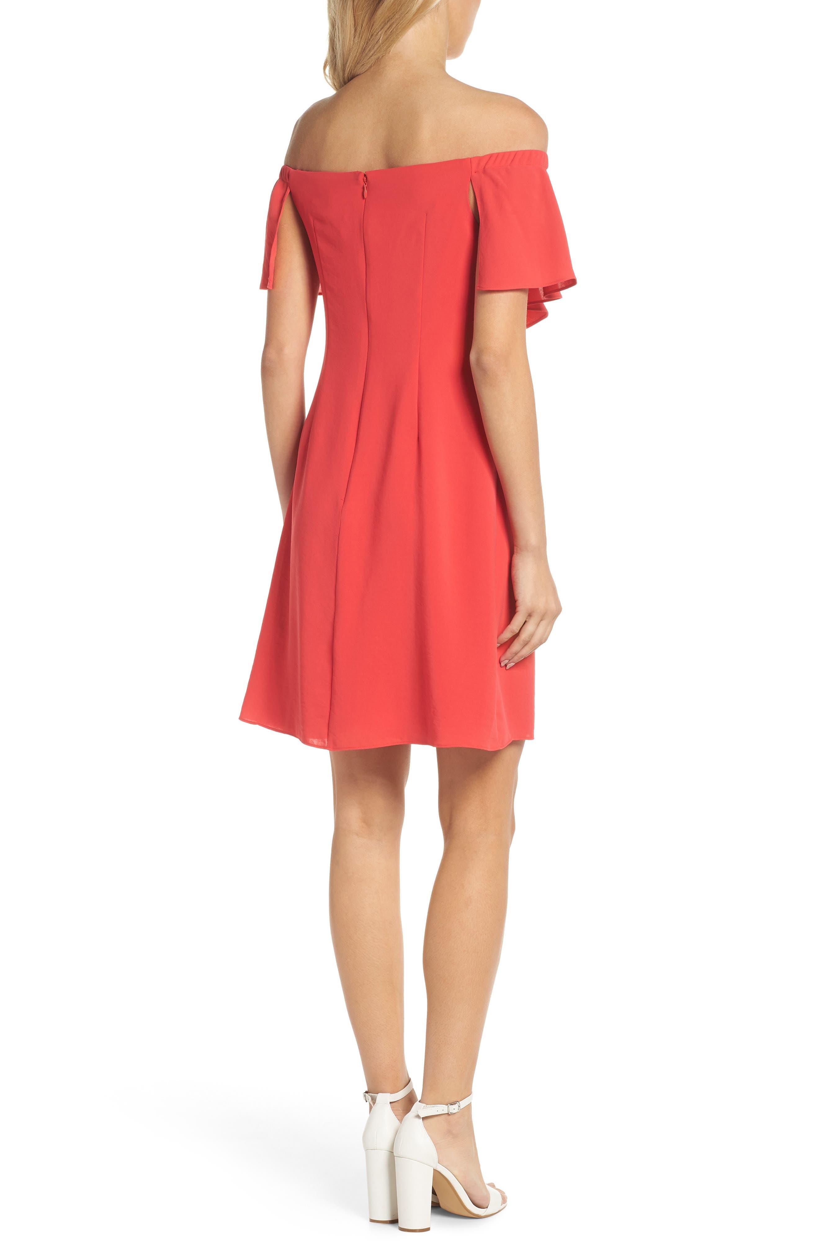 Off the Shoulder Crepe Dress,                             Alternate thumbnail 2, color,                             Geranium