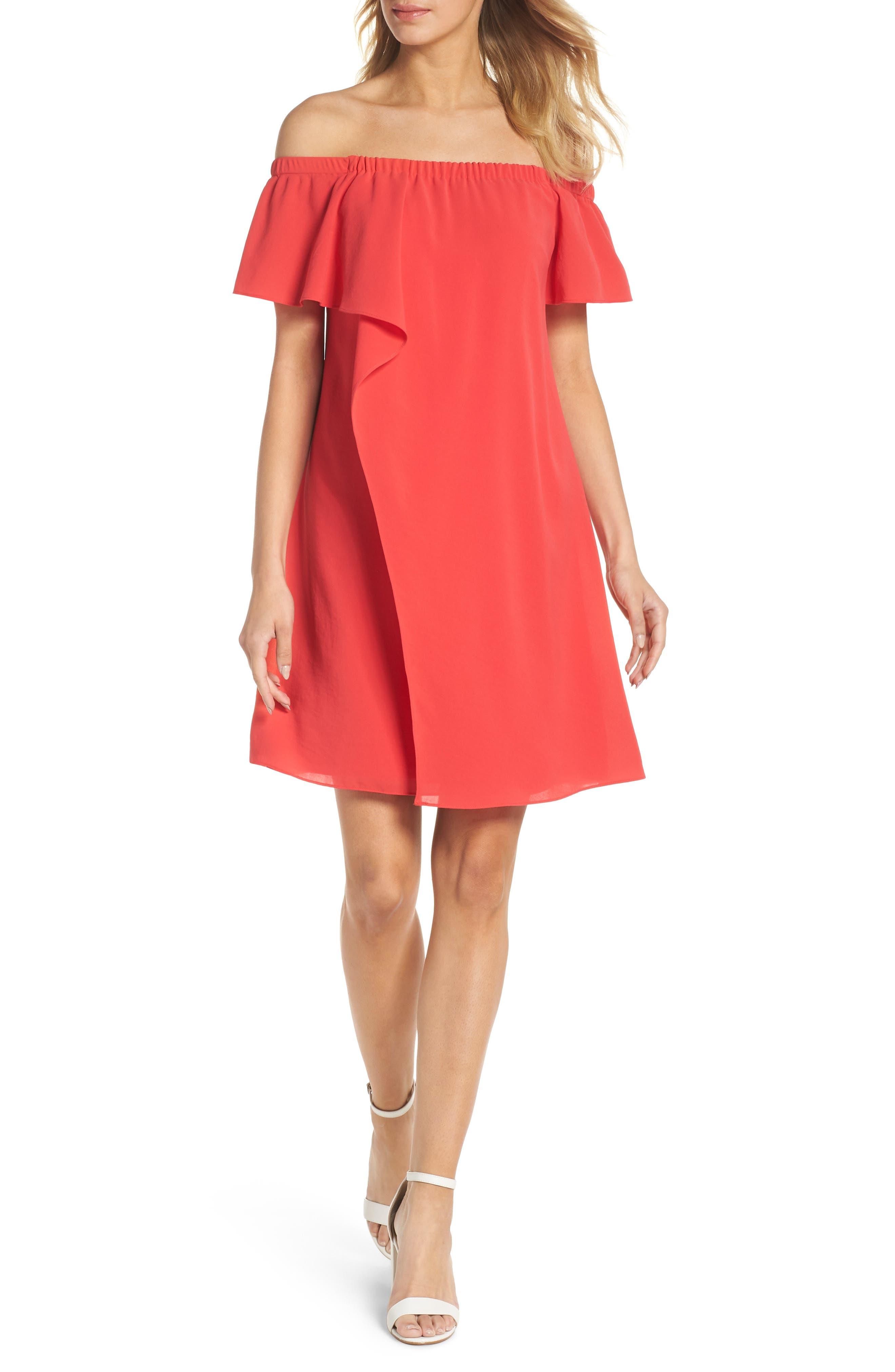 Off the Shoulder Crepe Dress,                         Main,                         color, Geranium