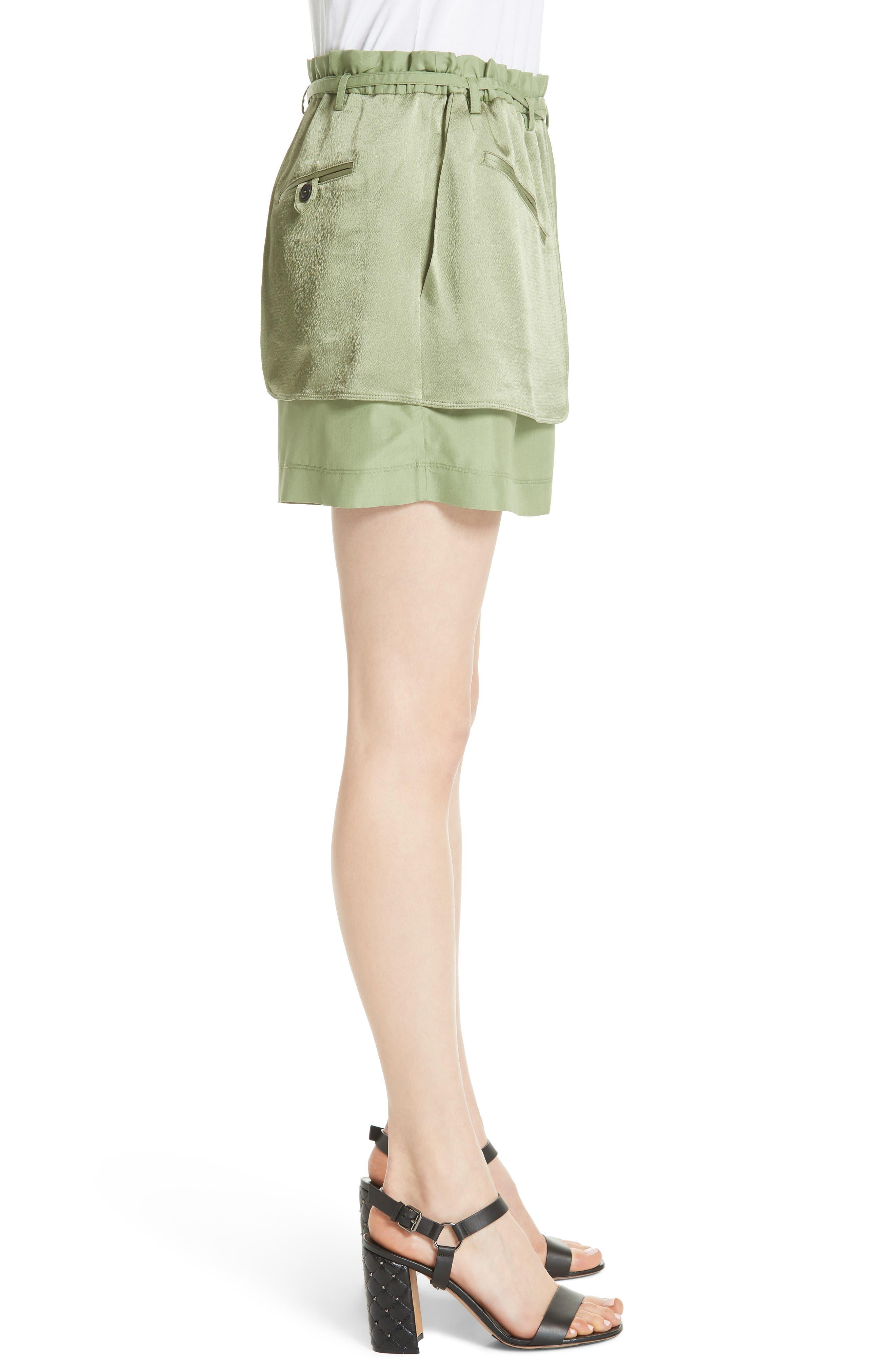 Satin Pocket Shorts,                             Alternate thumbnail 3, color,                             Green