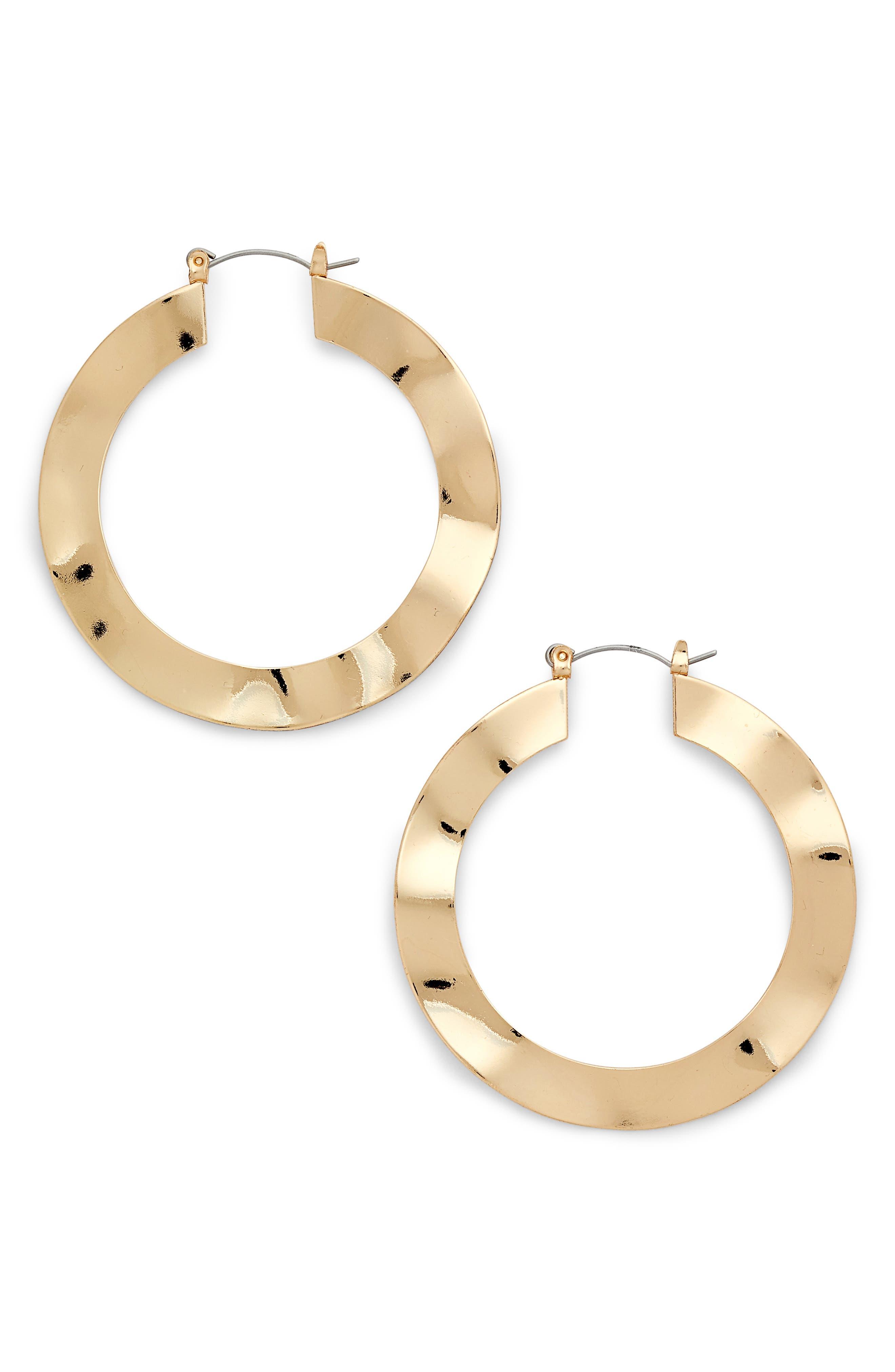 Wavy Hoop Earrings,                         Main,                         color, Gold