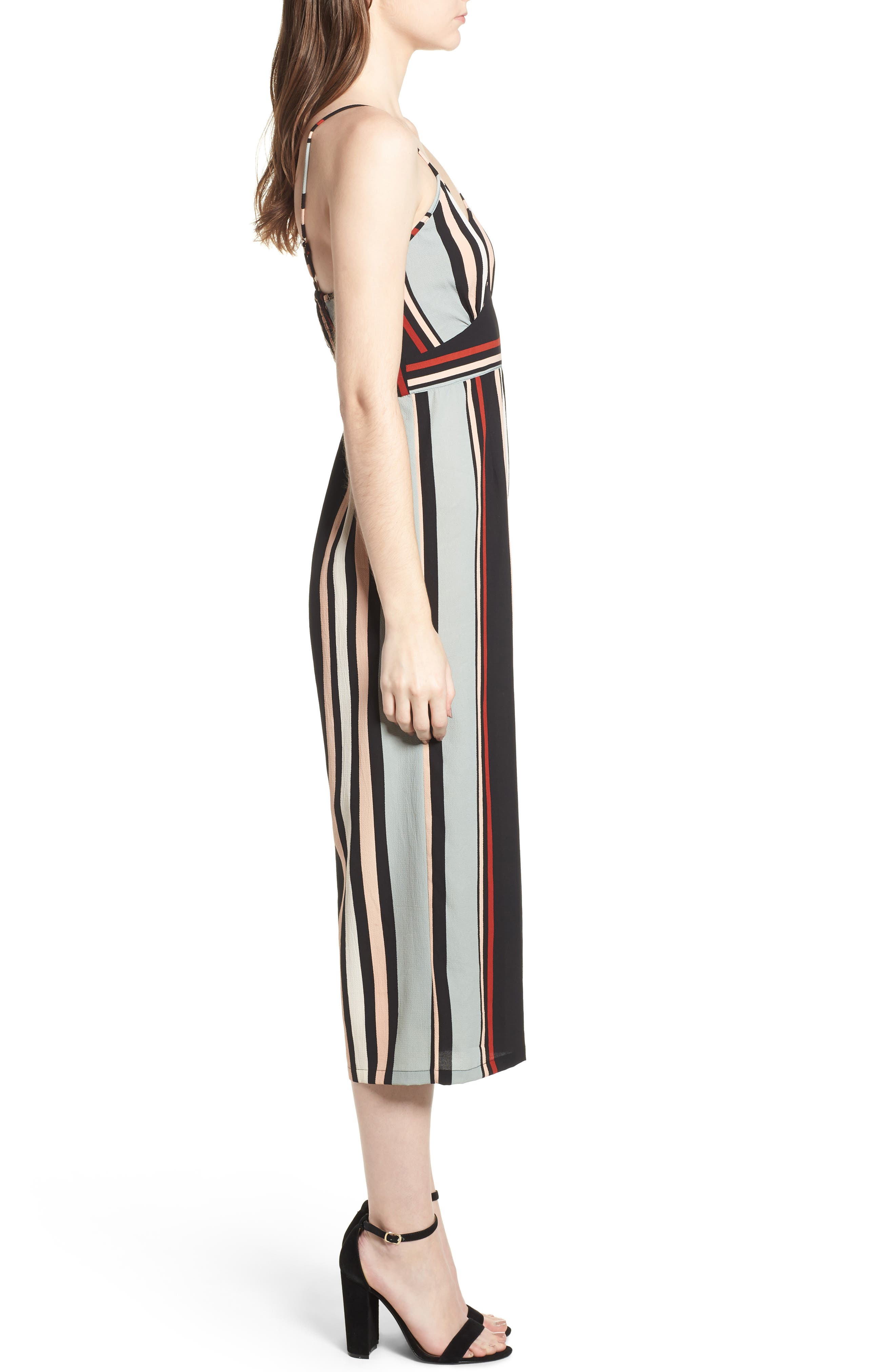 Stripe Jumpsuit,                             Alternate thumbnail 3, color,                             Blue-Black