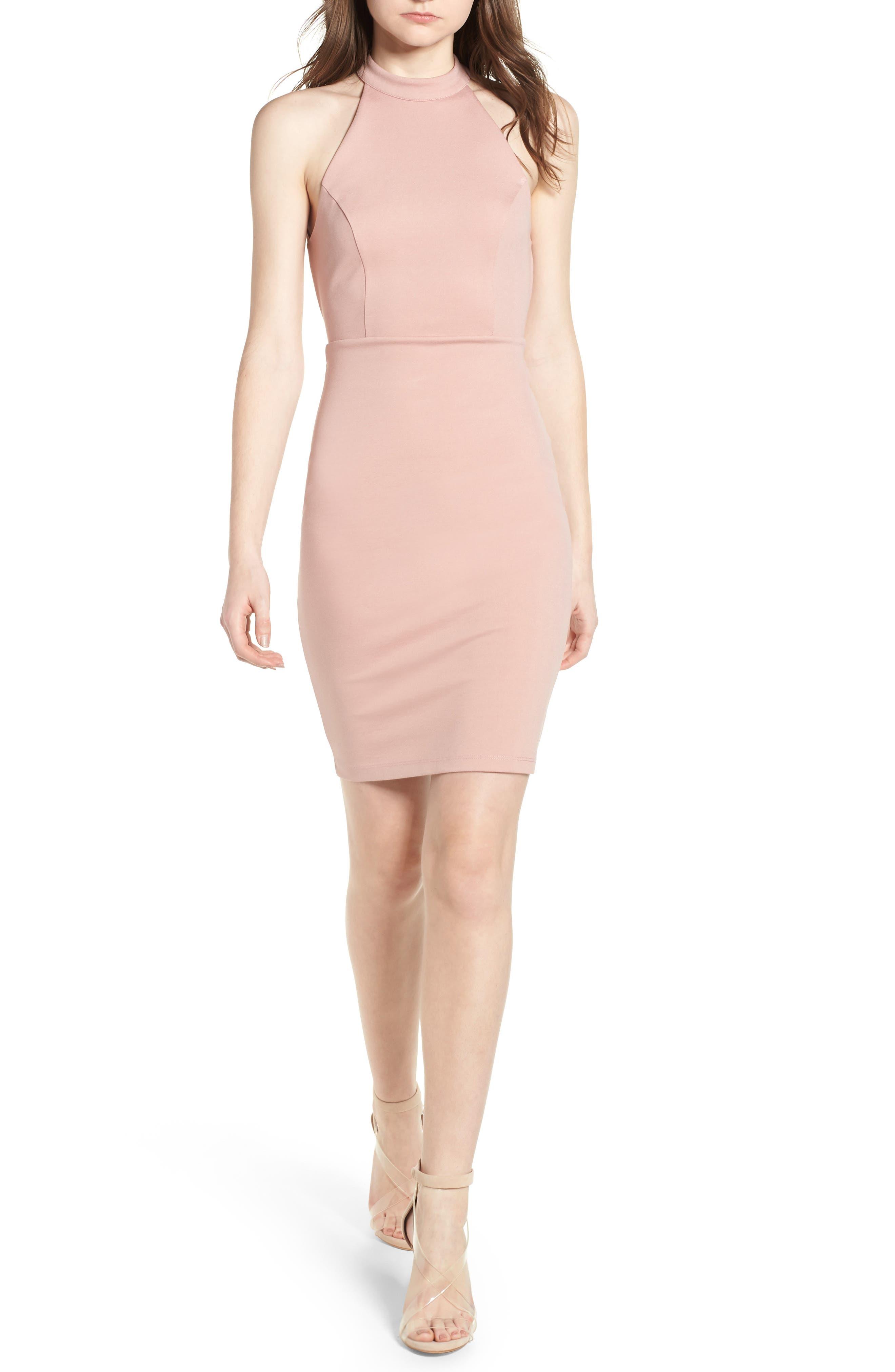 Halter Bodycon Dress,                             Main thumbnail 1, color,                             Wild Rose