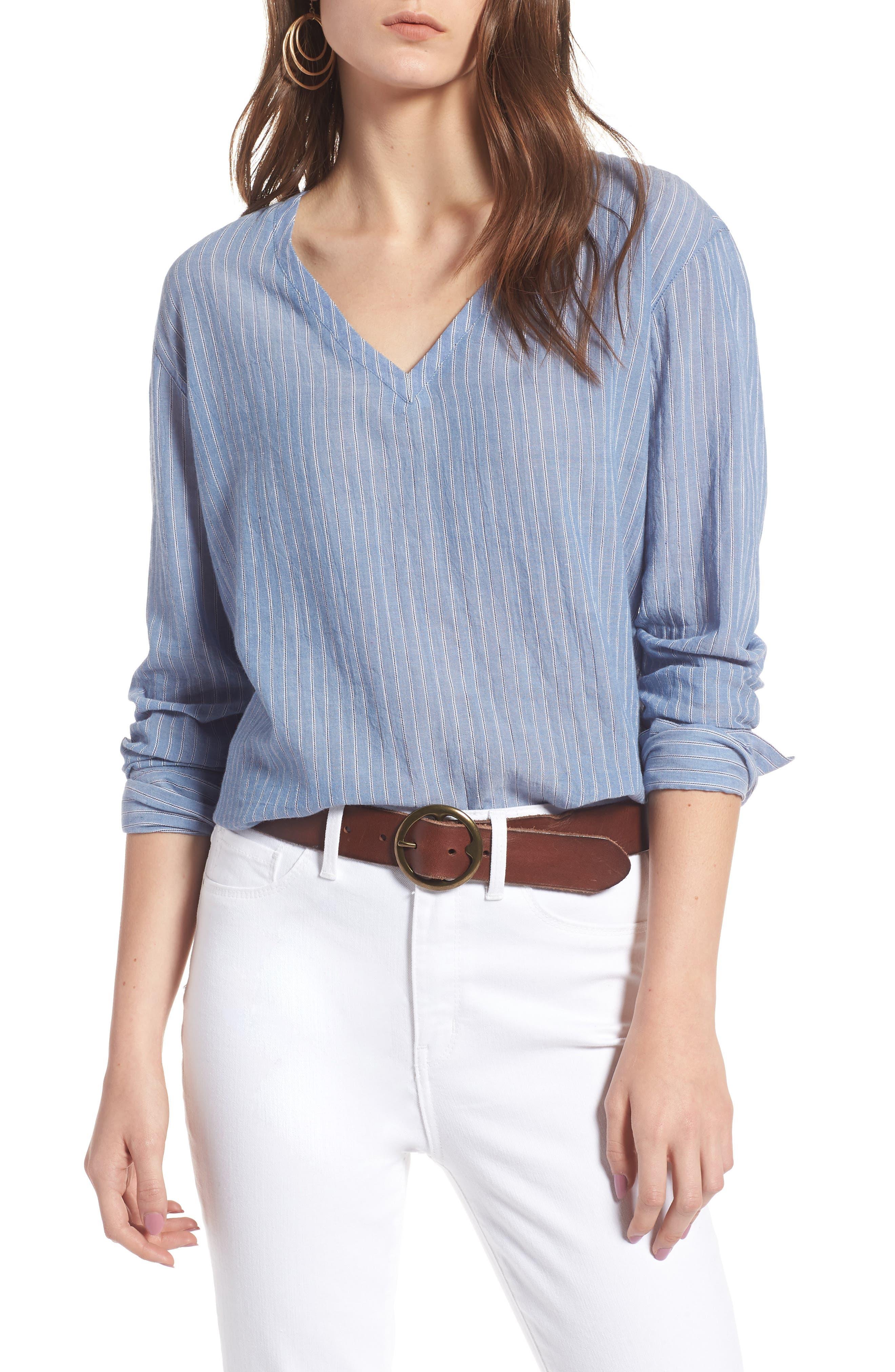 Tie Back Shirt,                             Main thumbnail 1, color,                             Blue Airy Stripe