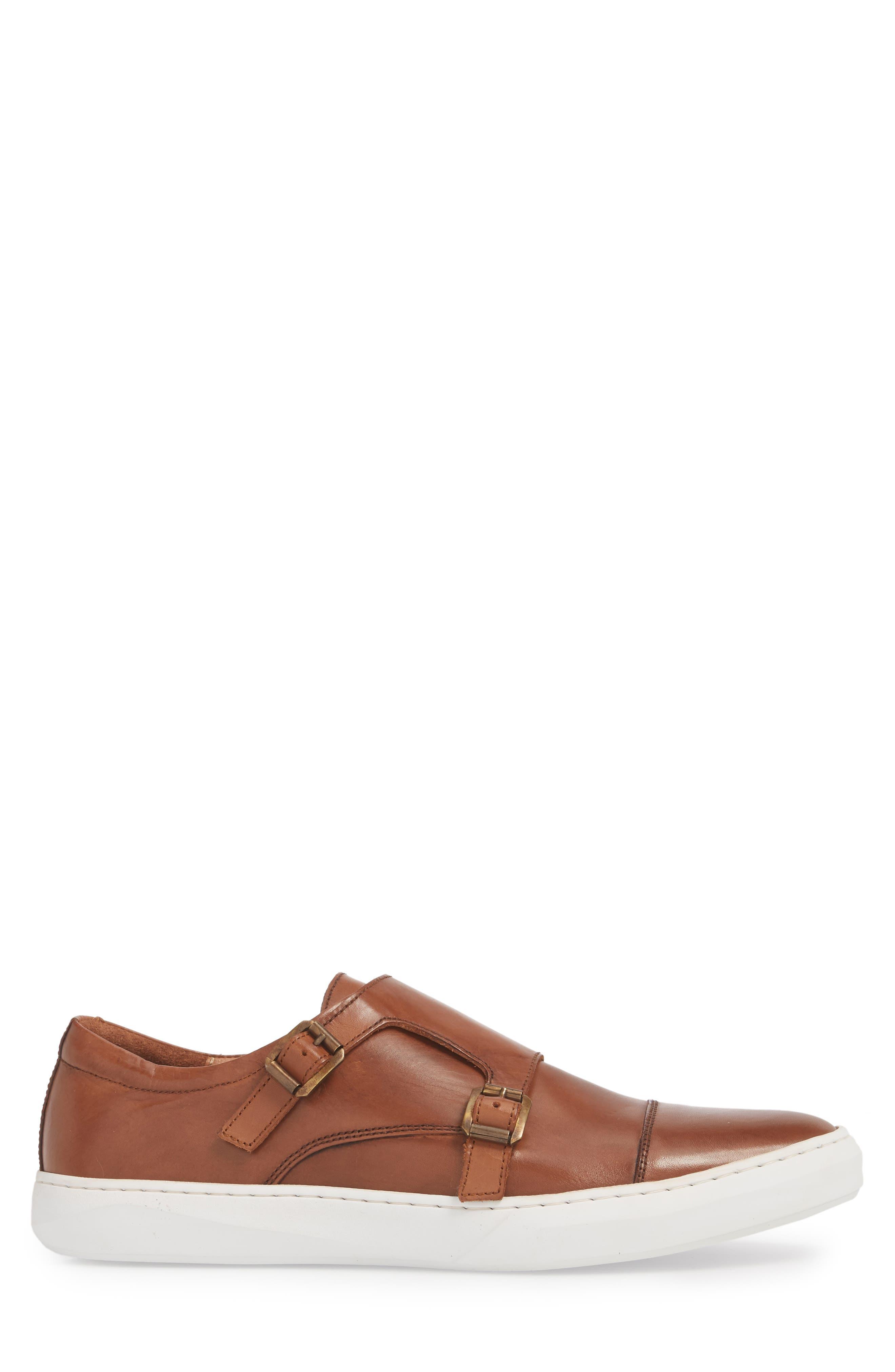 Whyle Double Strap Monk Sneaker,                             Alternate thumbnail 3, color,                             Cognac Leather