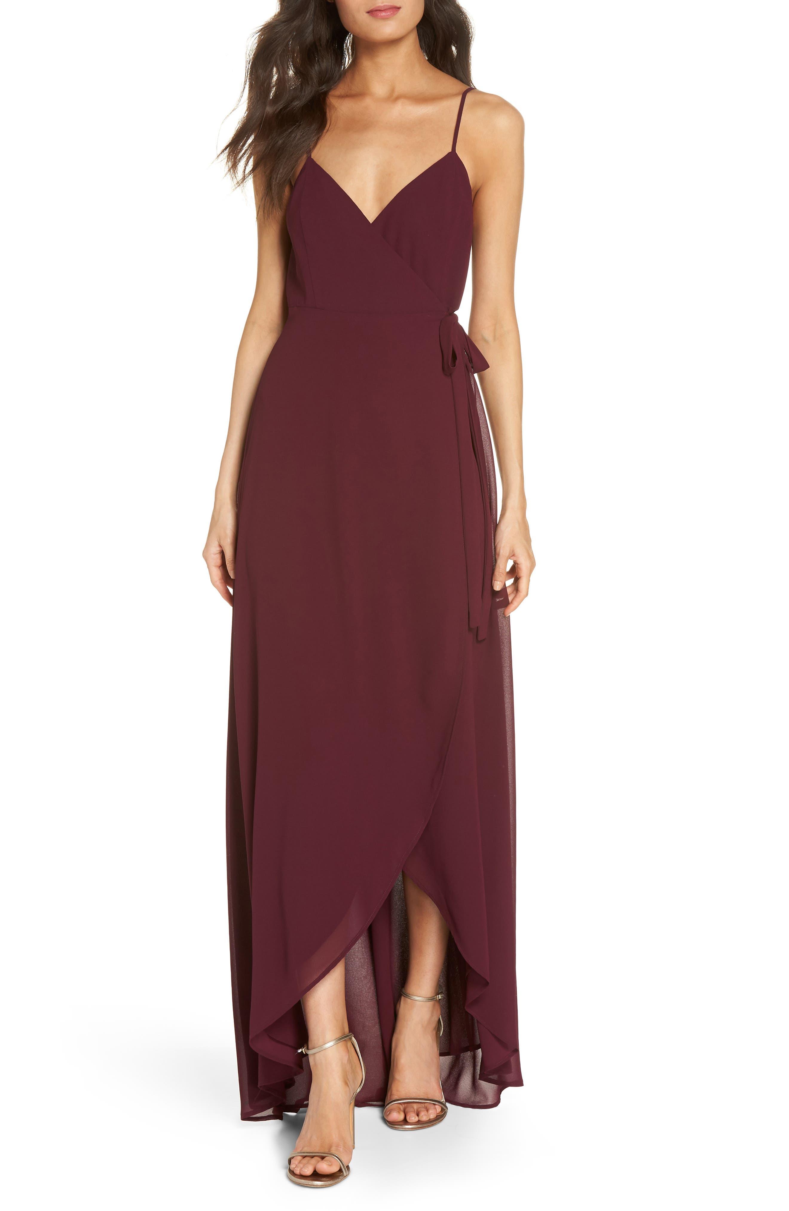 Mariah Wrap Maxi Dress,                         Main,                         color, Merlot Chiffon