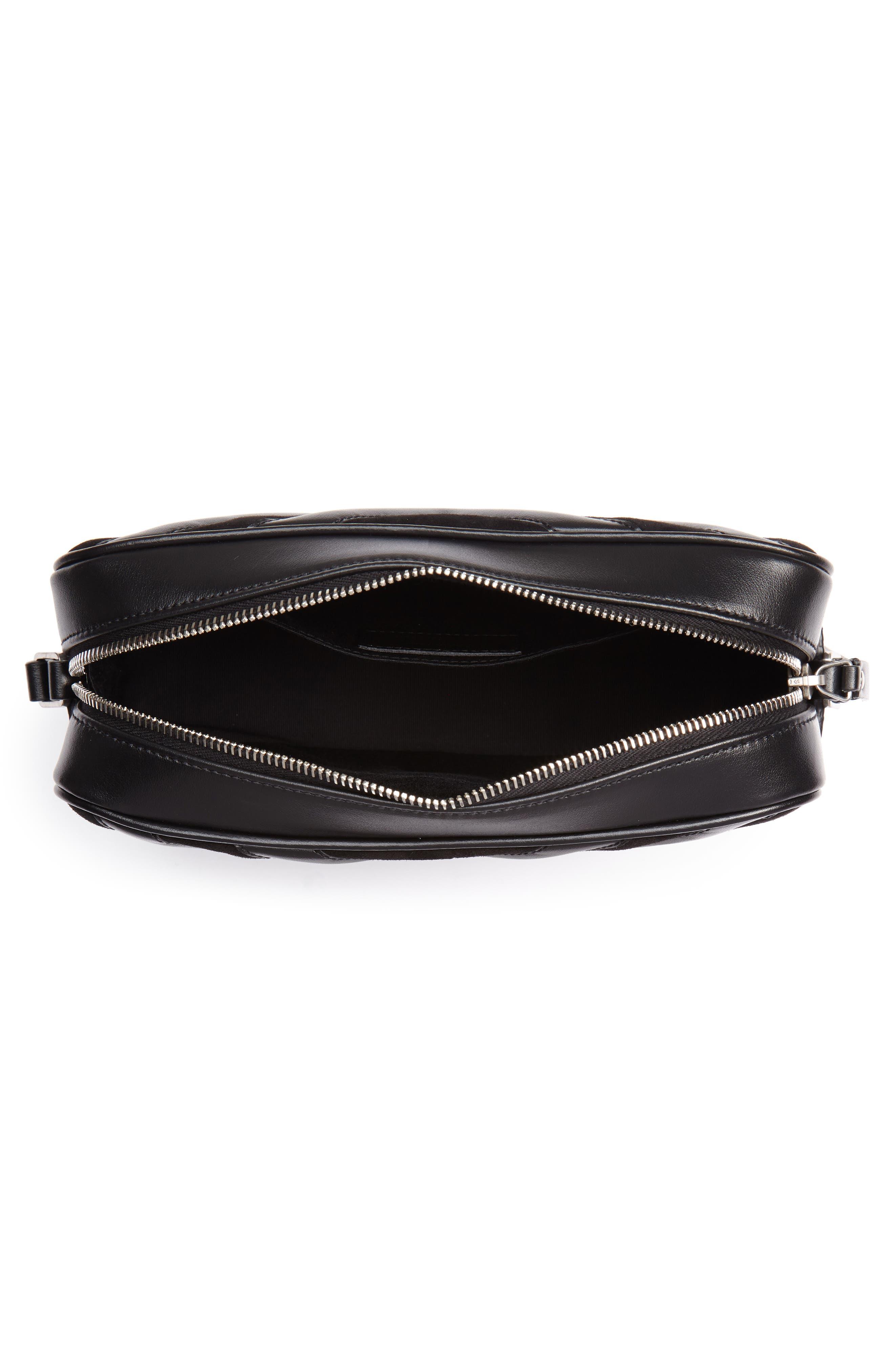 Medium Lou Leather & Suede Camera Bag,                             Alternate thumbnail 4, color,                             Noir
