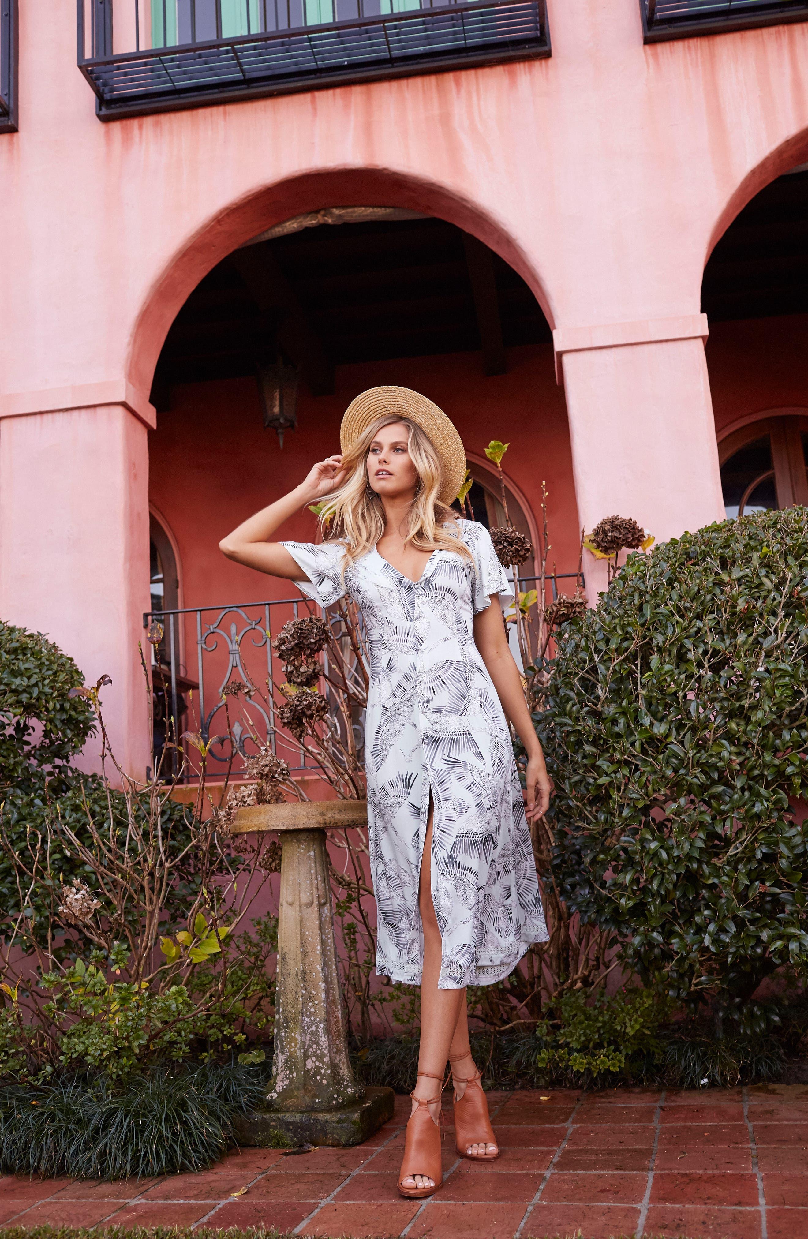 Taking Flight Midi Dress,                             Alternate thumbnail 2, color,                             Multi Grey