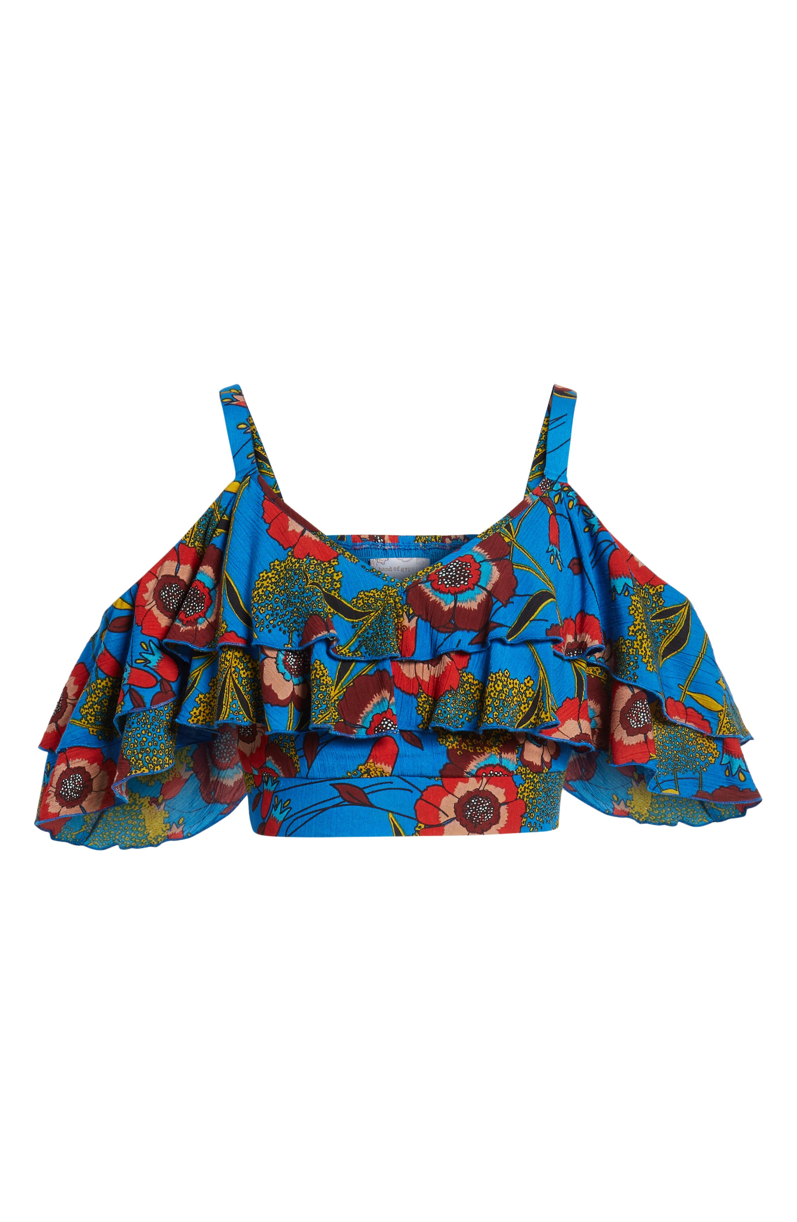 Heirloom Blossom Cold Shoulder Crop Top,                             Alternate thumbnail 7, color,                             Royal/ Blue/ Red