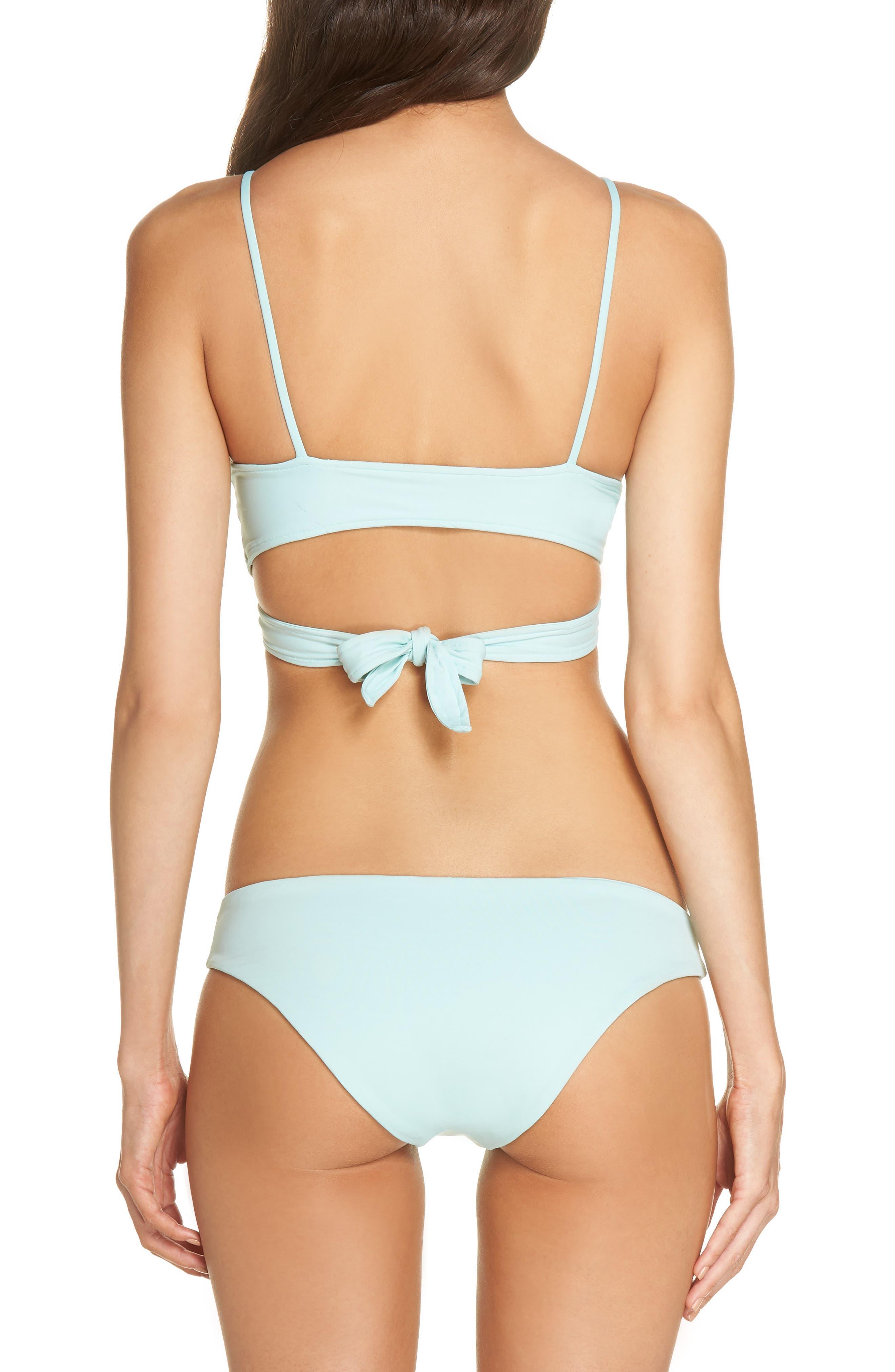 Chloe Wrap Bikini Top,                             Alternate thumbnail 7, color,                             Light Turquoise