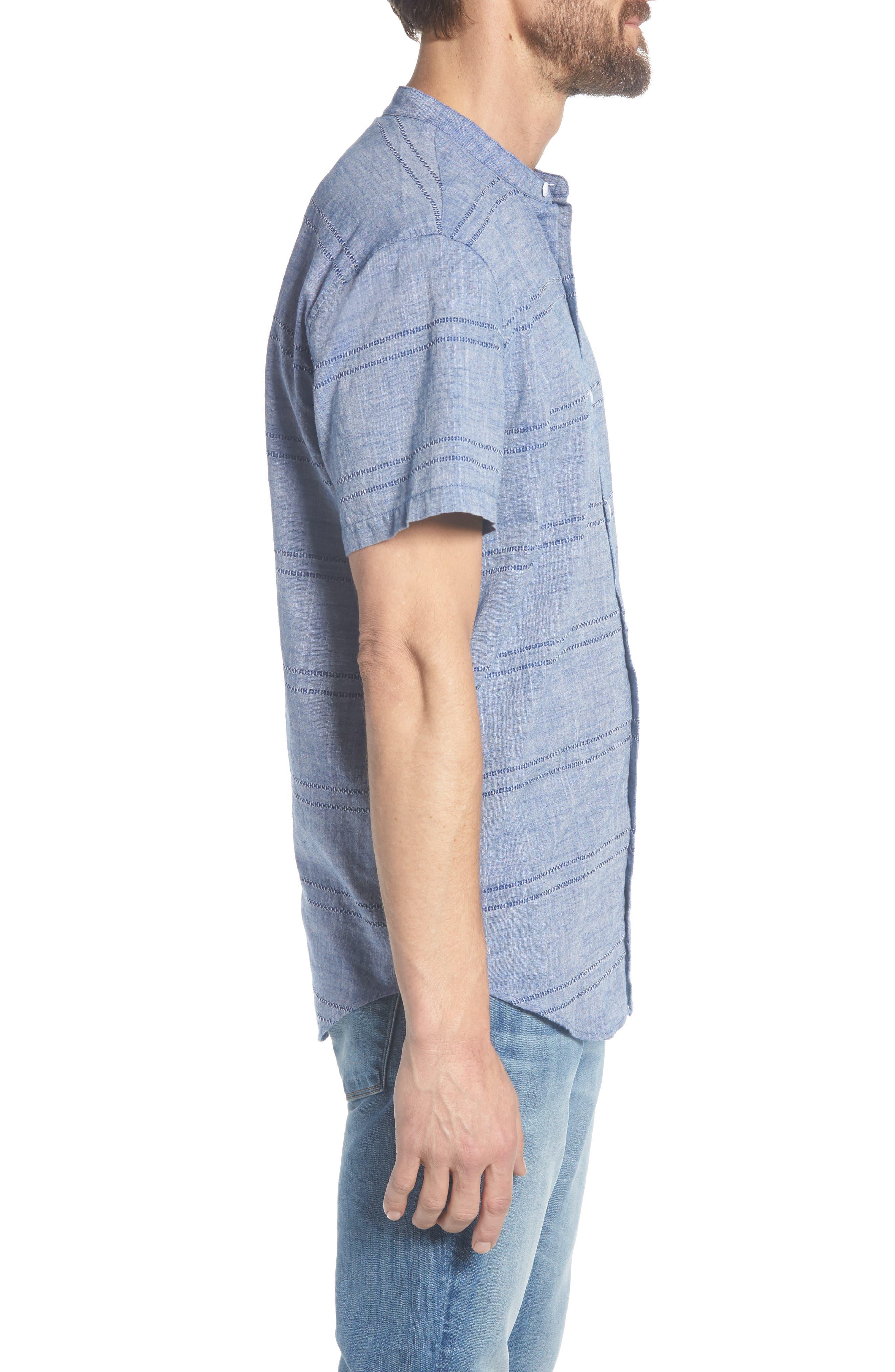 Beach Slim Fit Stripe Sport Shirt,                             Alternate thumbnail 4, color,                             Oak Bluffs Awning - Blue