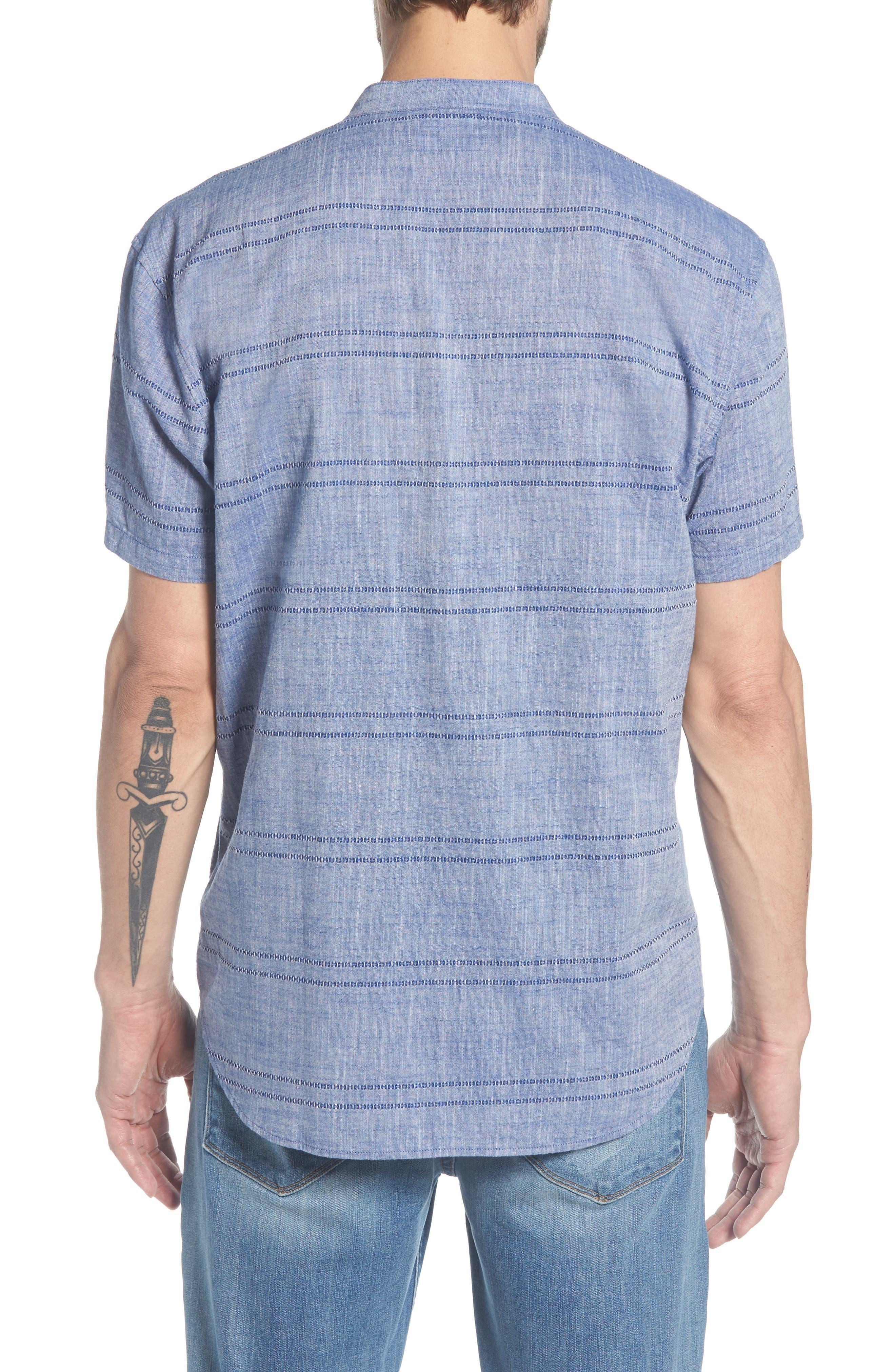 Beach Slim Fit Stripe Sport Shirt,                             Alternate thumbnail 3, color,                             Oak Bluffs Awning - Blue