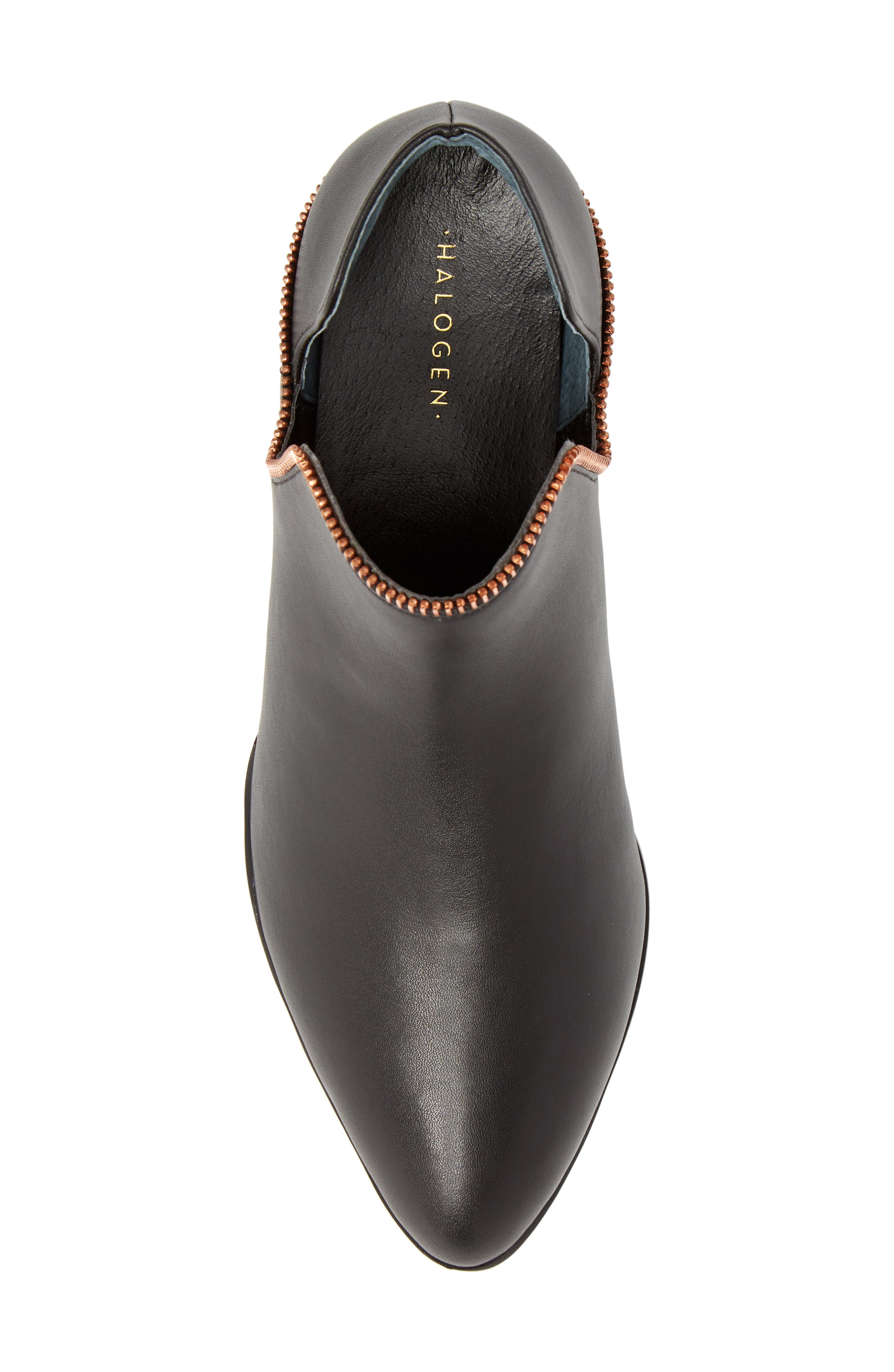 Piper Bootie,                             Alternate thumbnail 5, color,                             Black Leather/ Rosegold