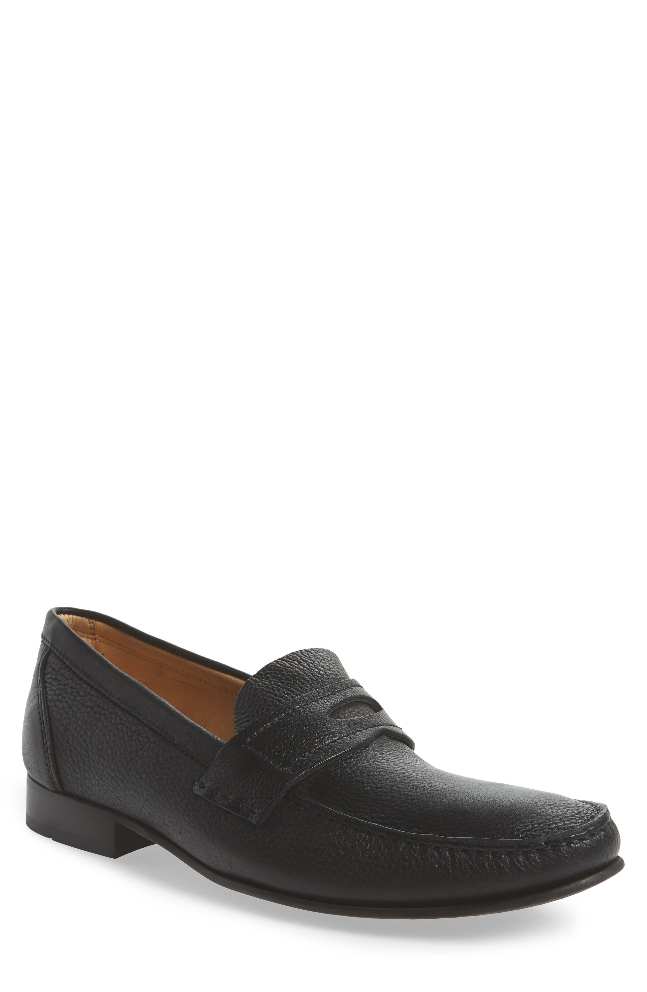 Eric Moc Toe Slip-On Loafer,                             Main thumbnail 1, color,                             Floater Black Leather