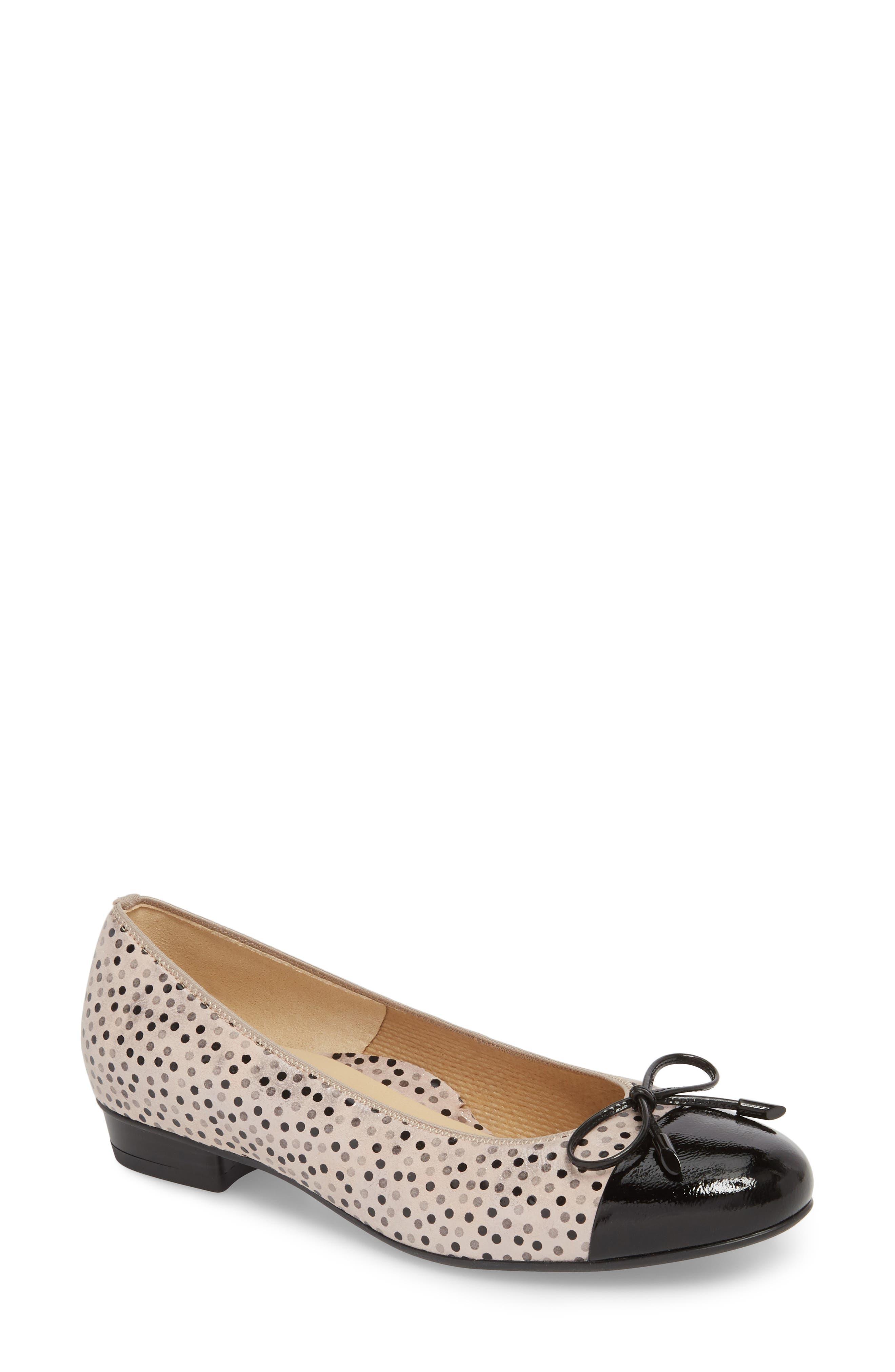 'Betty' Cap Toe Flat,                             Main thumbnail 1, color,                             Black Polka Dot Leather
