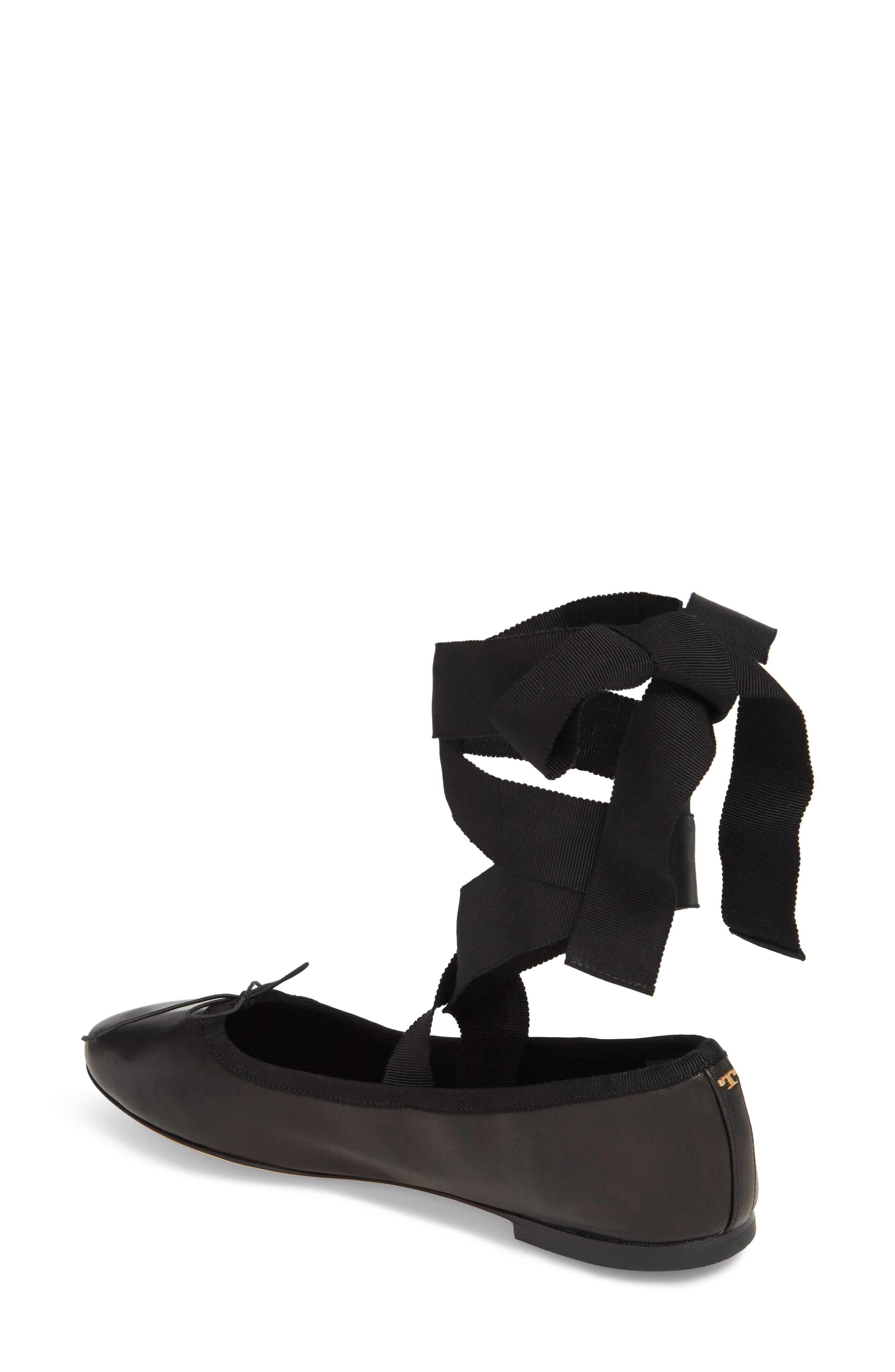 Elodie Lace-Up Ballet Flat,                             Alternate thumbnail 2, color,                             Perfect Black