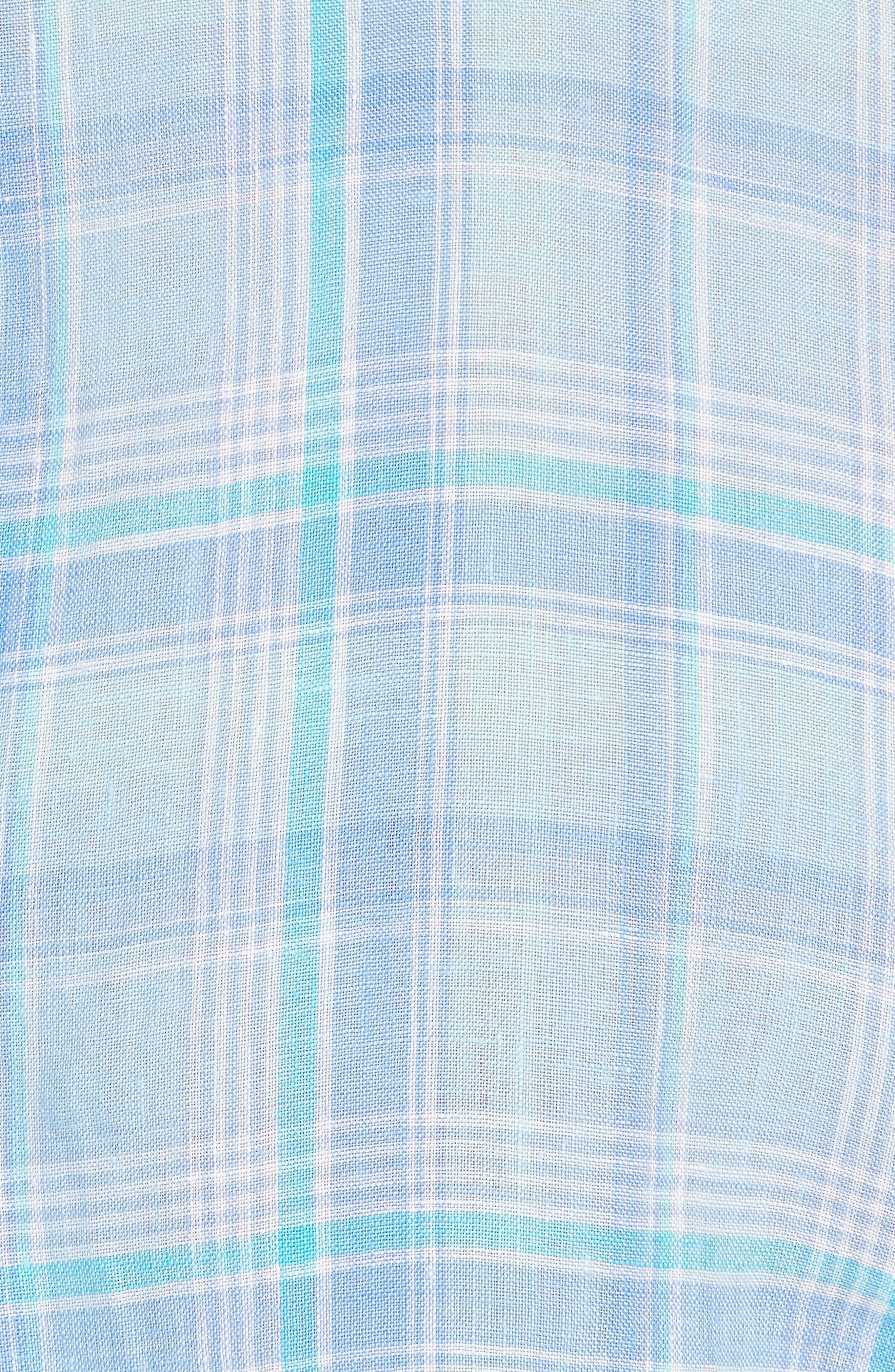 Moore's Island Classic Fit Plaid Sport Shirt,                             Alternate thumbnail 5, color,                             Baja Blue