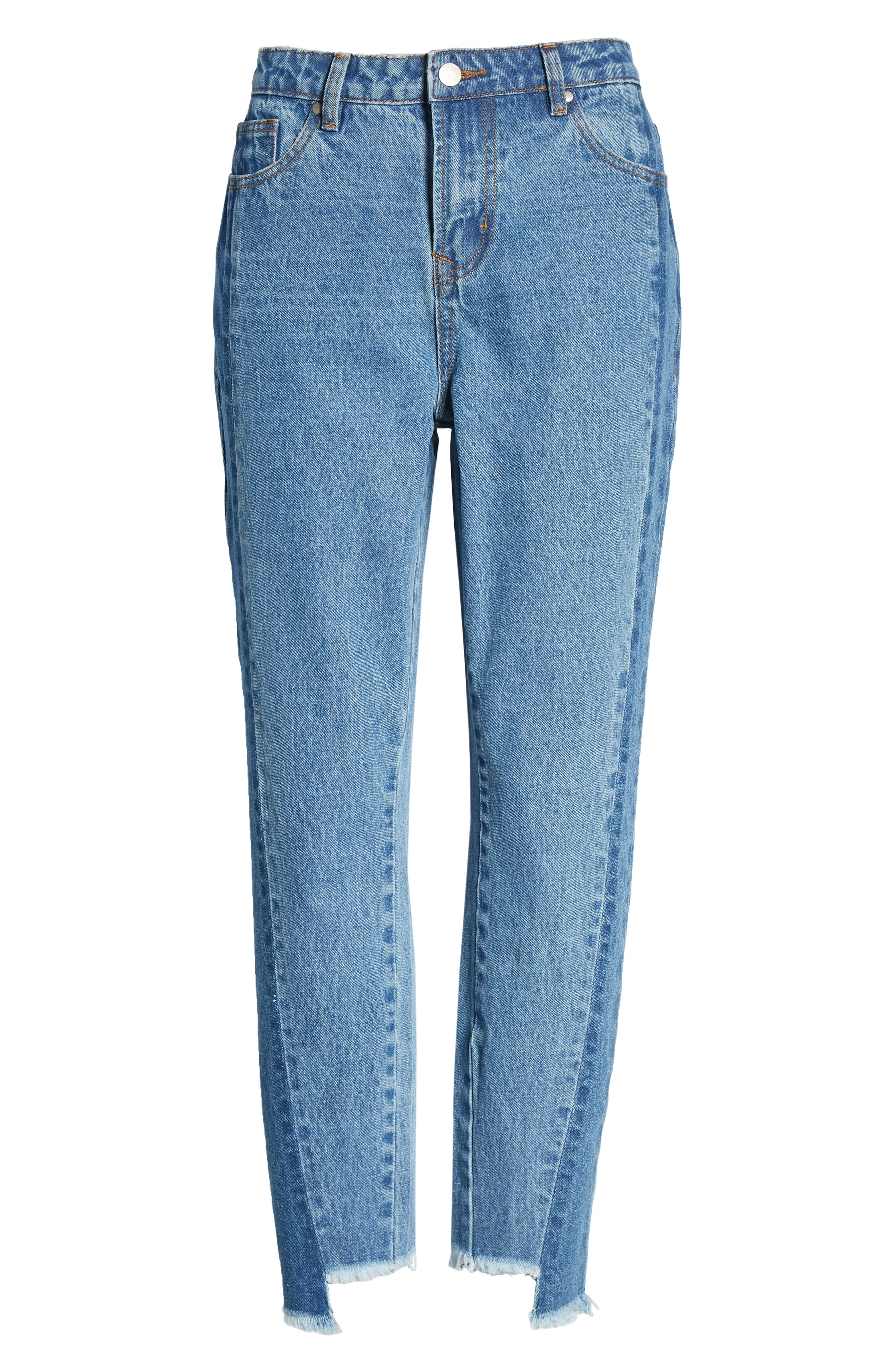 Step Hem Two-Tone Rigid Jeans,                             Alternate thumbnail 6, color,                             Light Med Wash