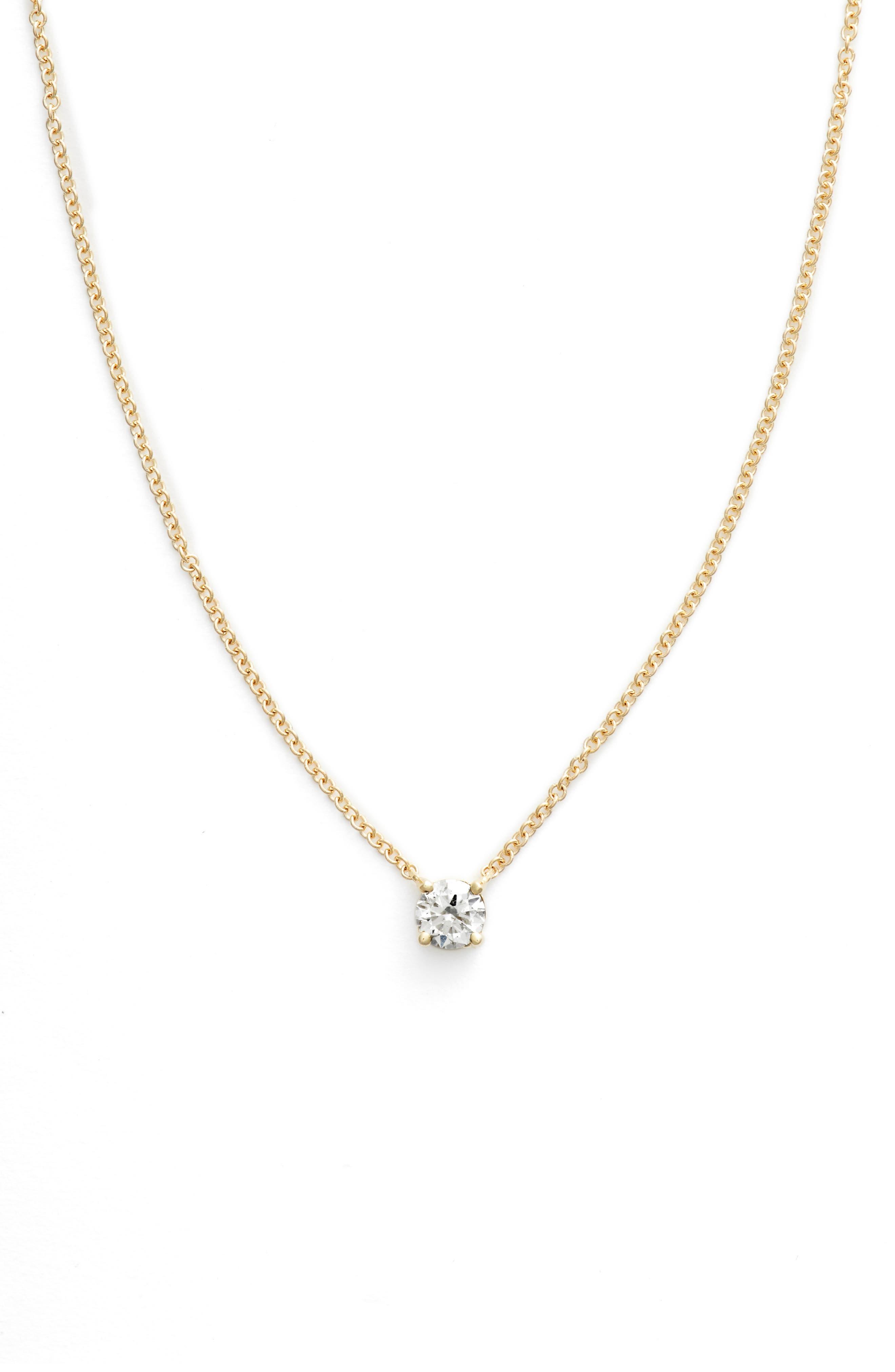 Liora Solitaire Diamond Pendant Necklace,                             Main thumbnail 1, color,                             Yellow Gold