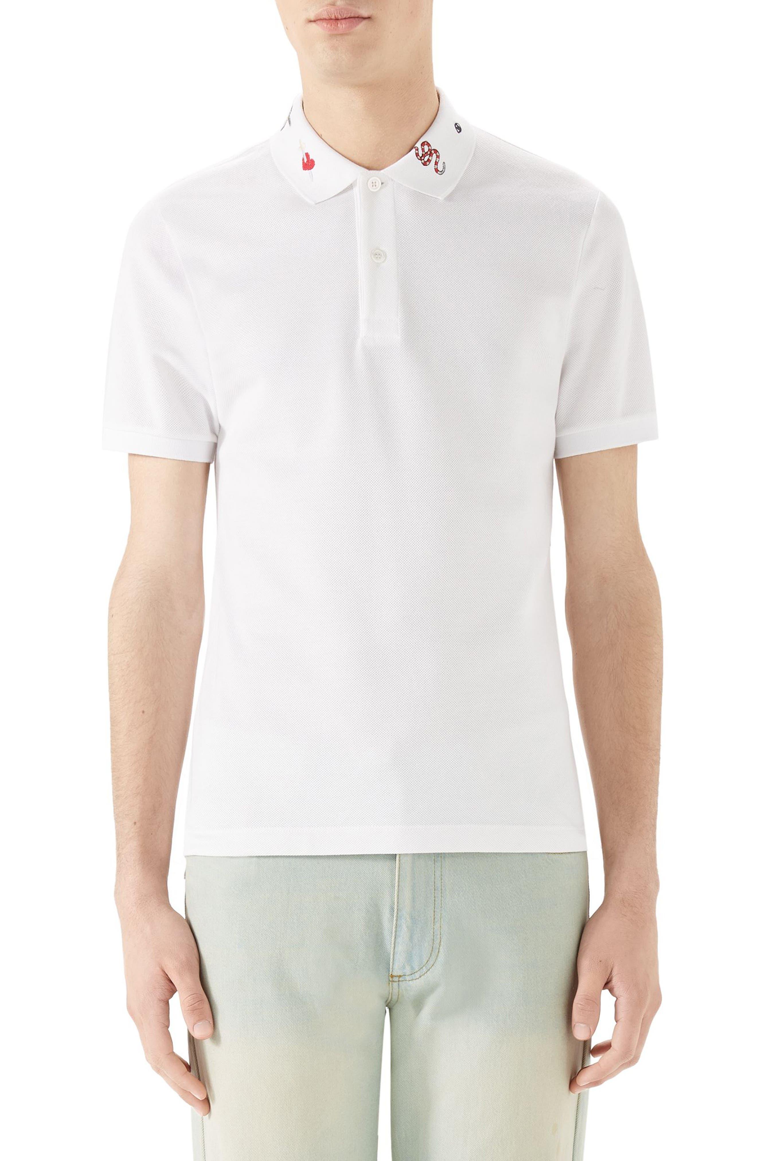 Embroidered Collar Piqué Polo,                         Main,                         color, White