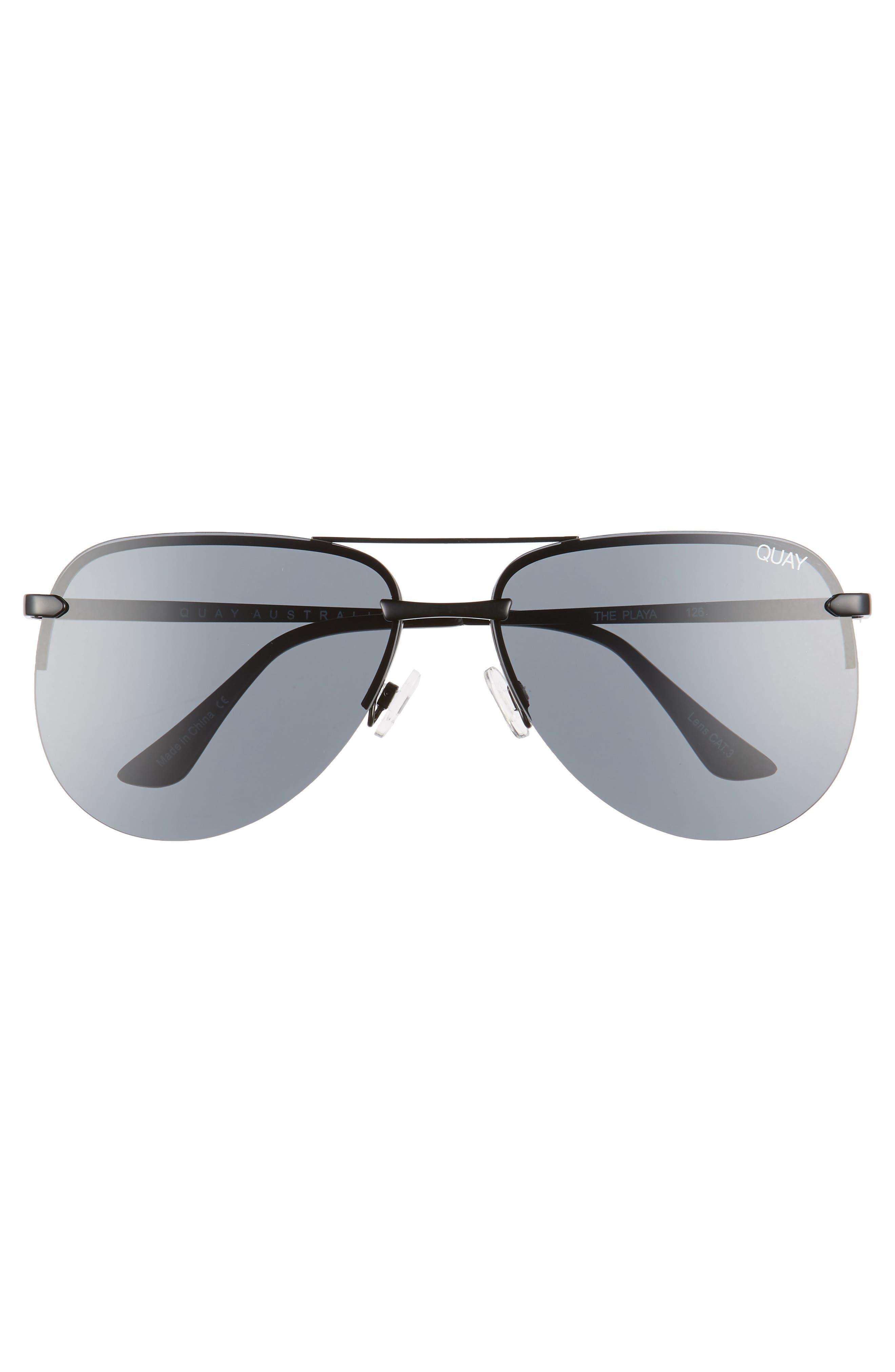 The Playa 64mm Aviator Sunglasses,                             Alternate thumbnail 3, color,                             Black/ Smoke