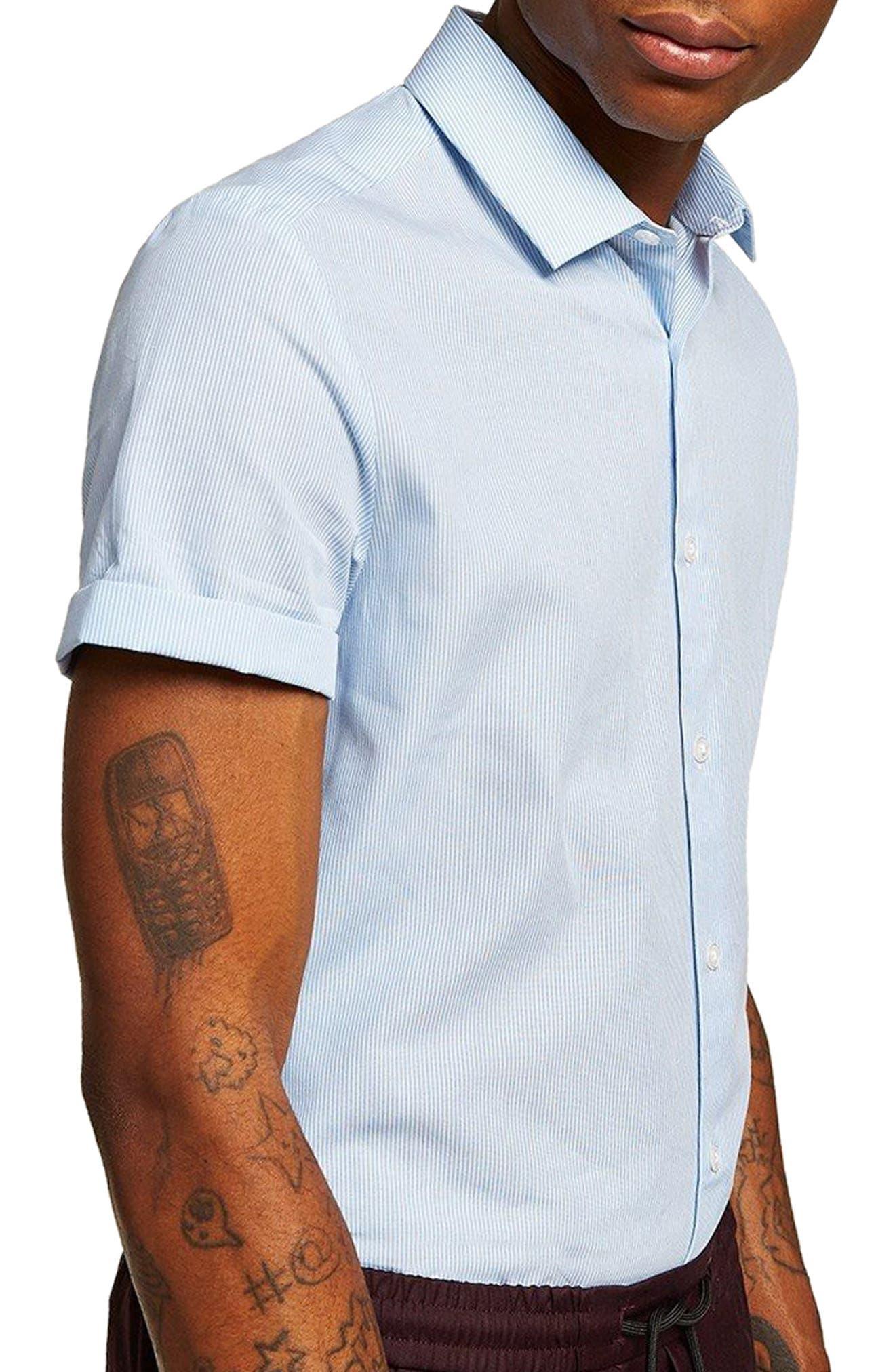 Slim Fit Stripe Shirt,                             Alternate thumbnail 4, color,                             Blue Bulti