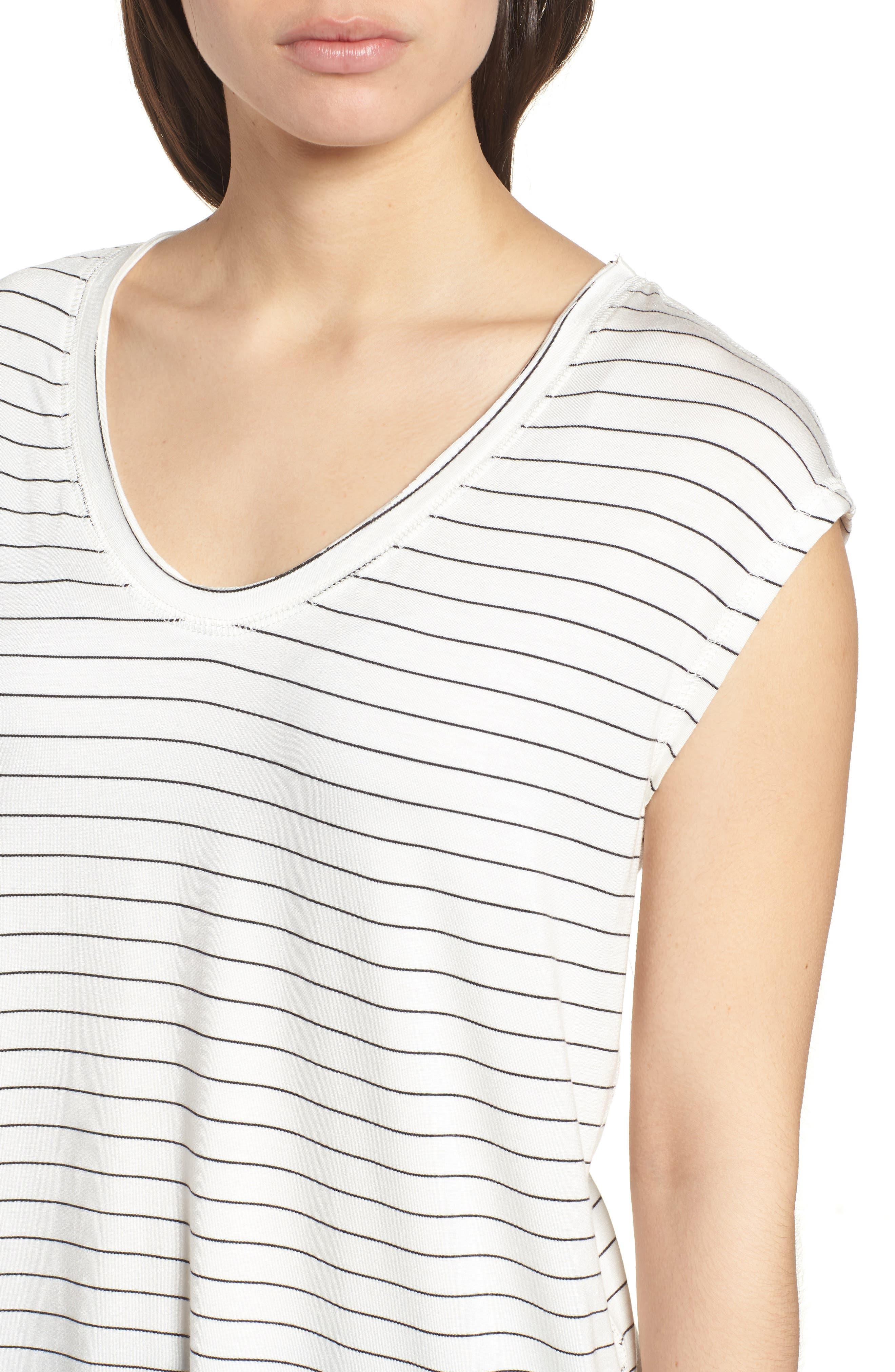Off-Duty Sleeveless Stretch Knit Top,                             Alternate thumbnail 4, color,                             White- Black Cloud Stripe