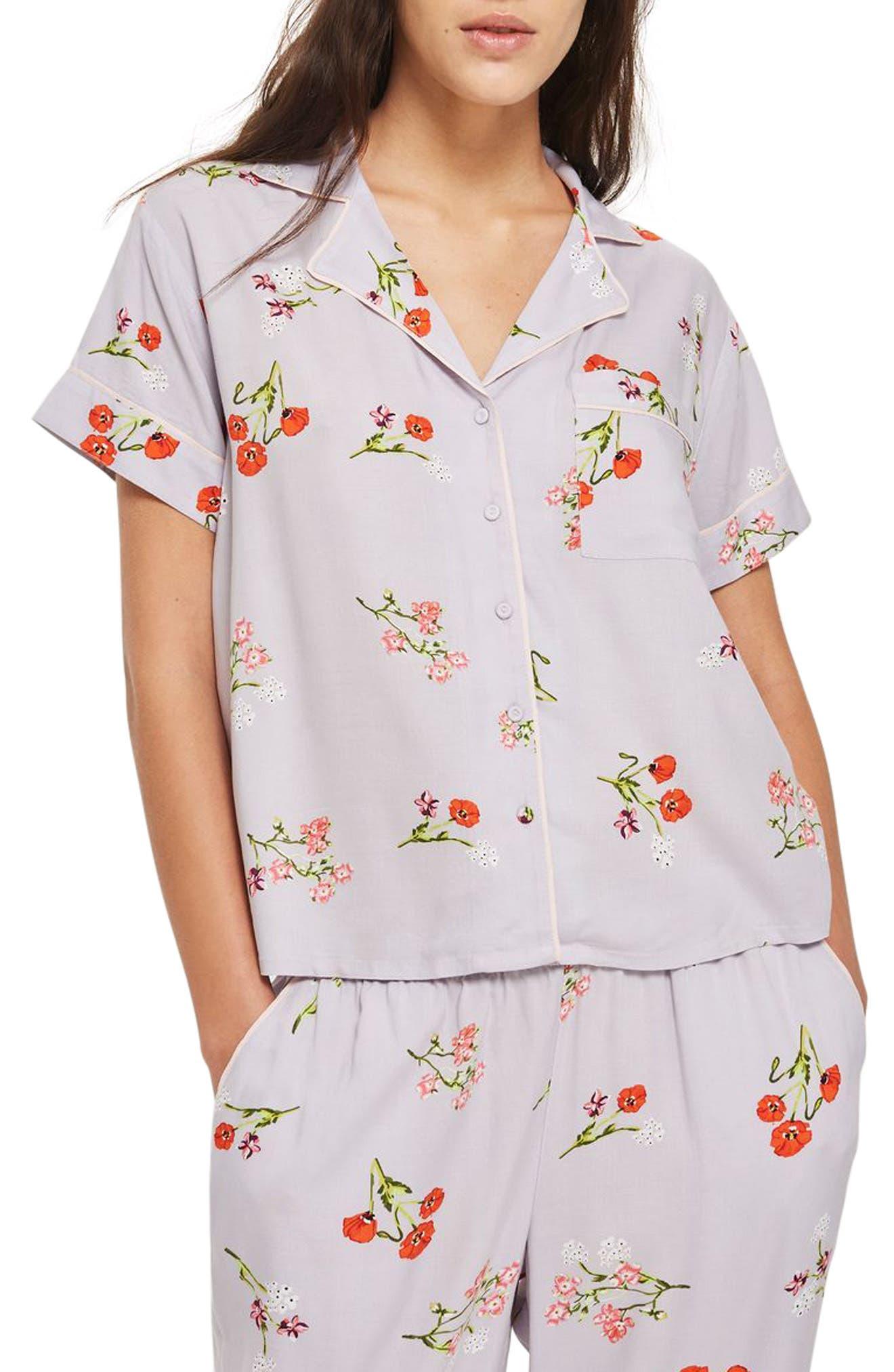Poppy Pajama Shirt,                             Main thumbnail 1, color,                             Light Blue Multi