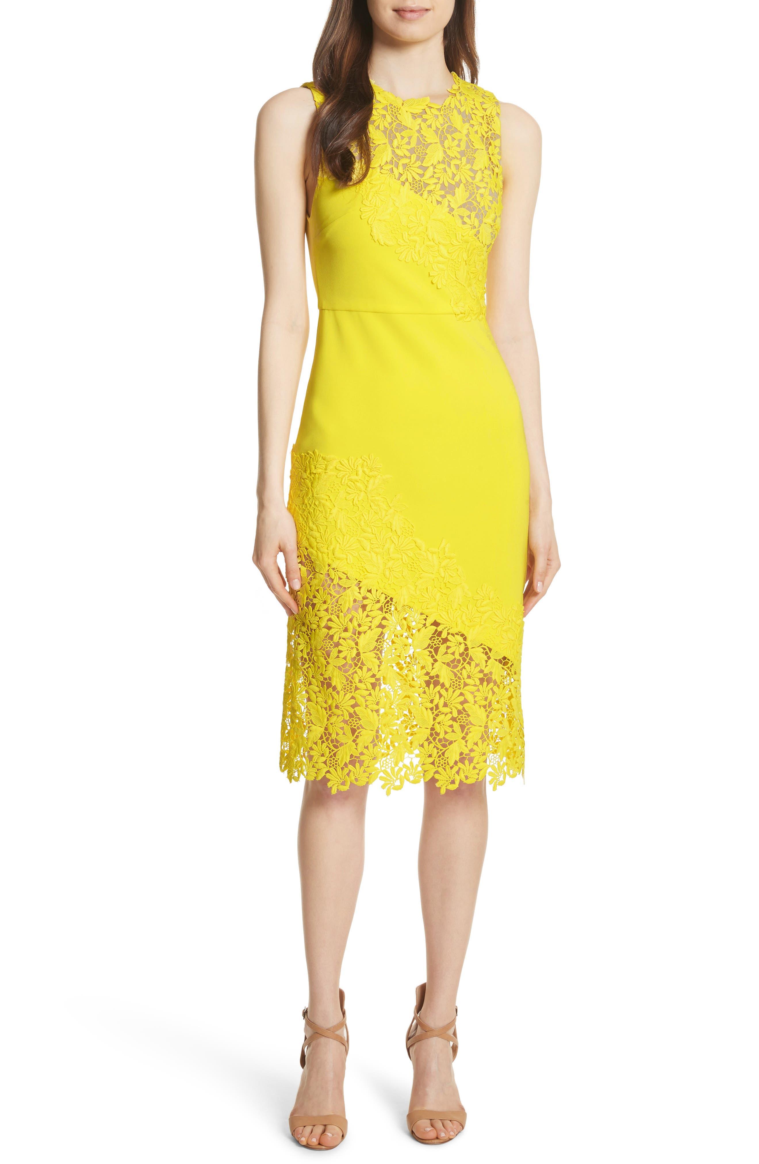 Margy Lace Overlay Body-Con Dress,                             Main thumbnail 1, color,                             Lemon