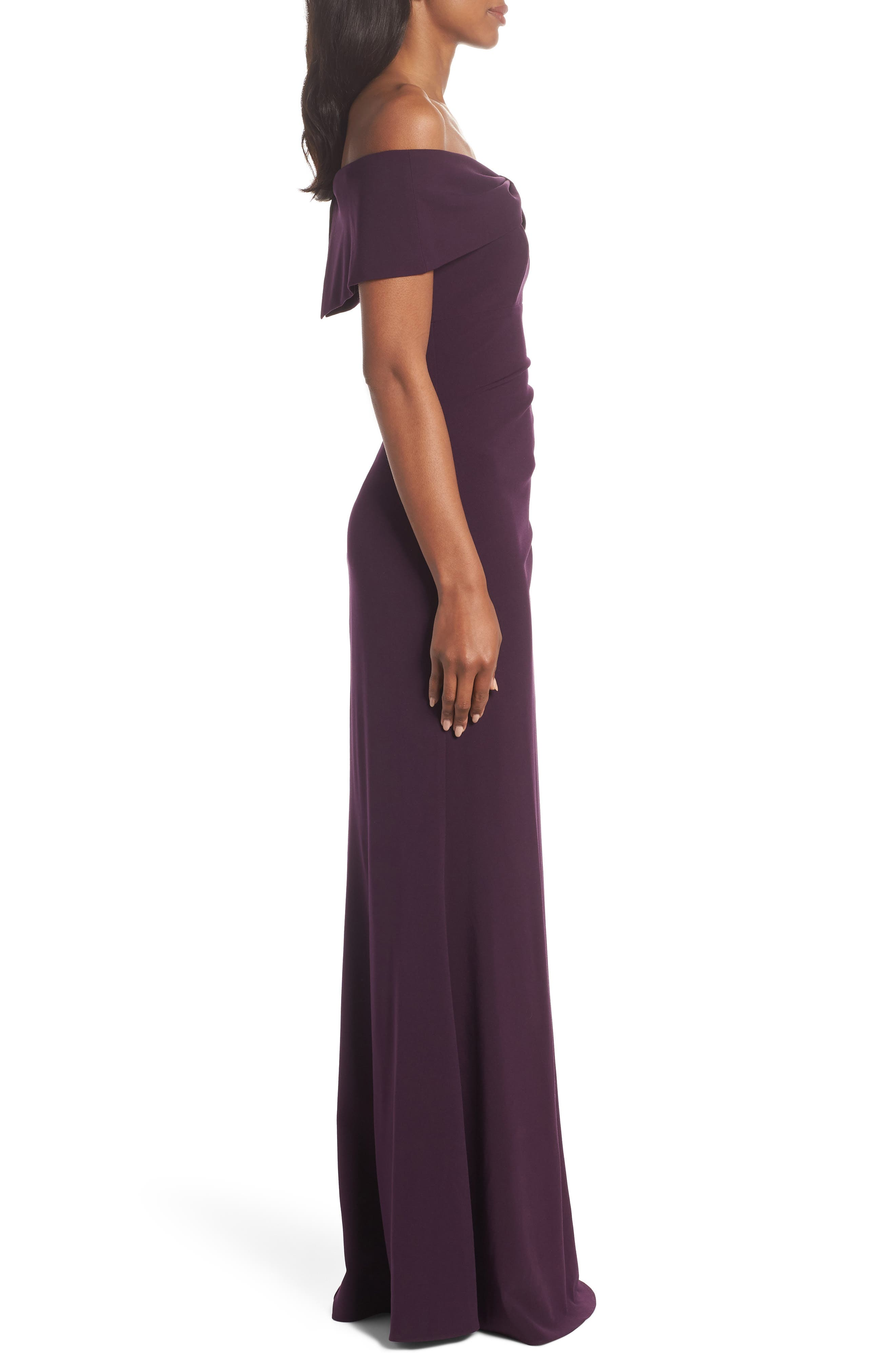 Knot Front Off the Shoulder Gown,                             Alternate thumbnail 3, color,                             Plum