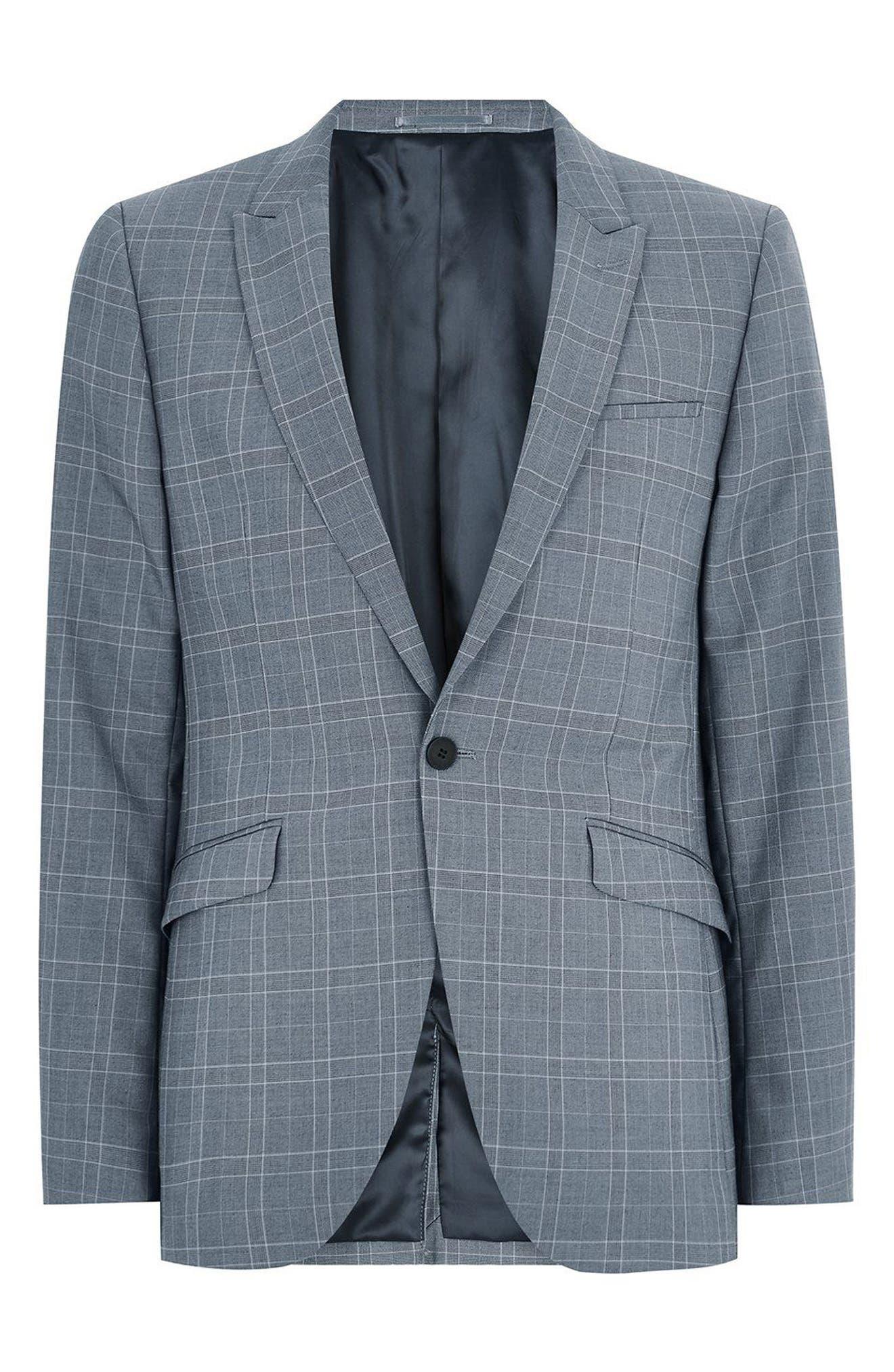 Skinny Fit Check Suit Jacket,                             Alternate thumbnail 4, color,                             Blue Multi