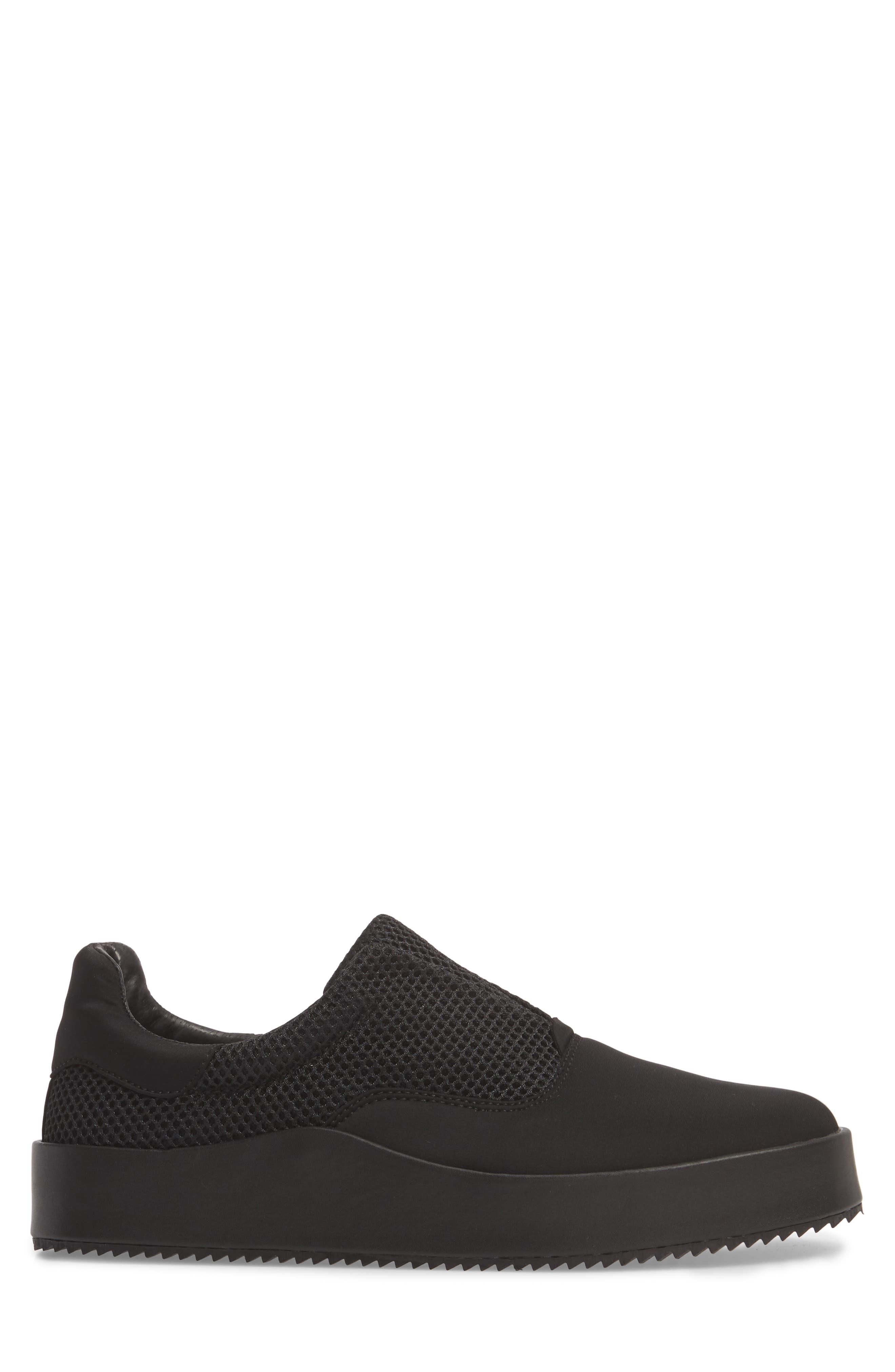 Core Neoprene Skater Laceless Sneaker,                             Alternate thumbnail 3, color,                             Black Neoprene Fabric