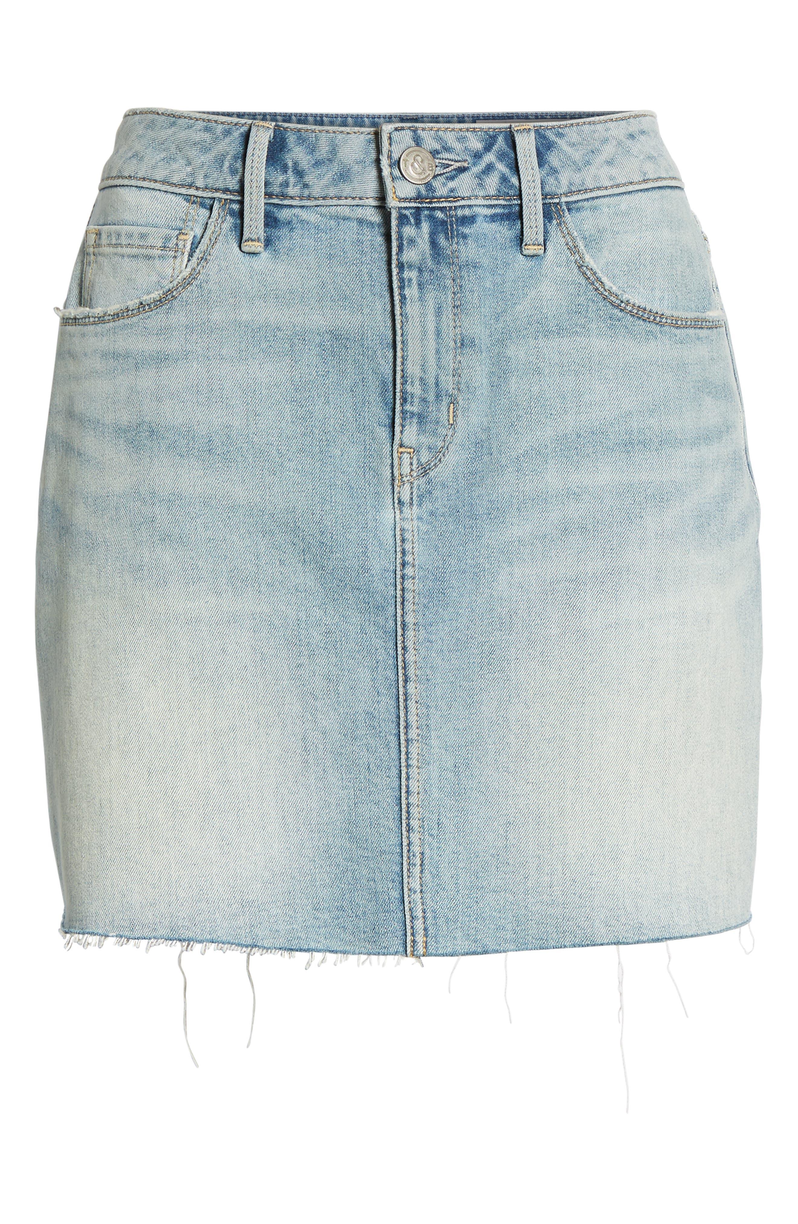 Denim Miniskirt,                             Alternate thumbnail 7, color,                             Gravel Light Vintage