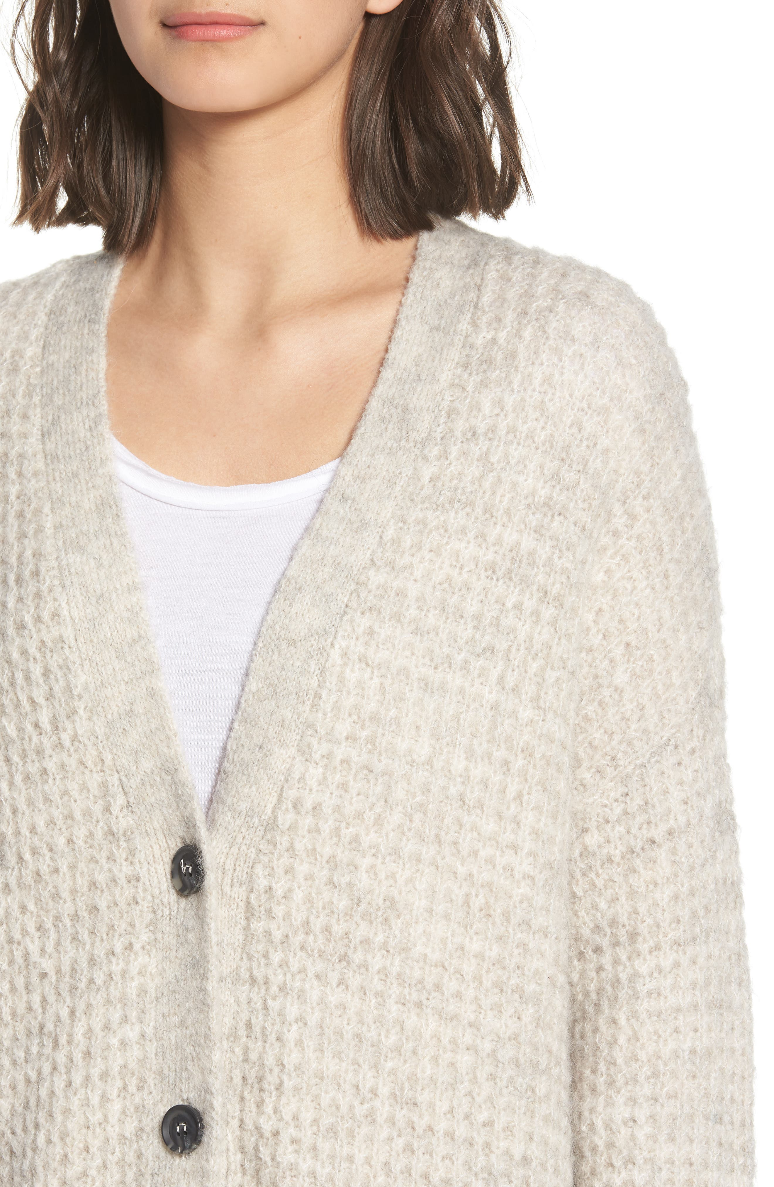Oversized Waffle Stitch Cardigan,                             Alternate thumbnail 4, color,                             Beige Birch