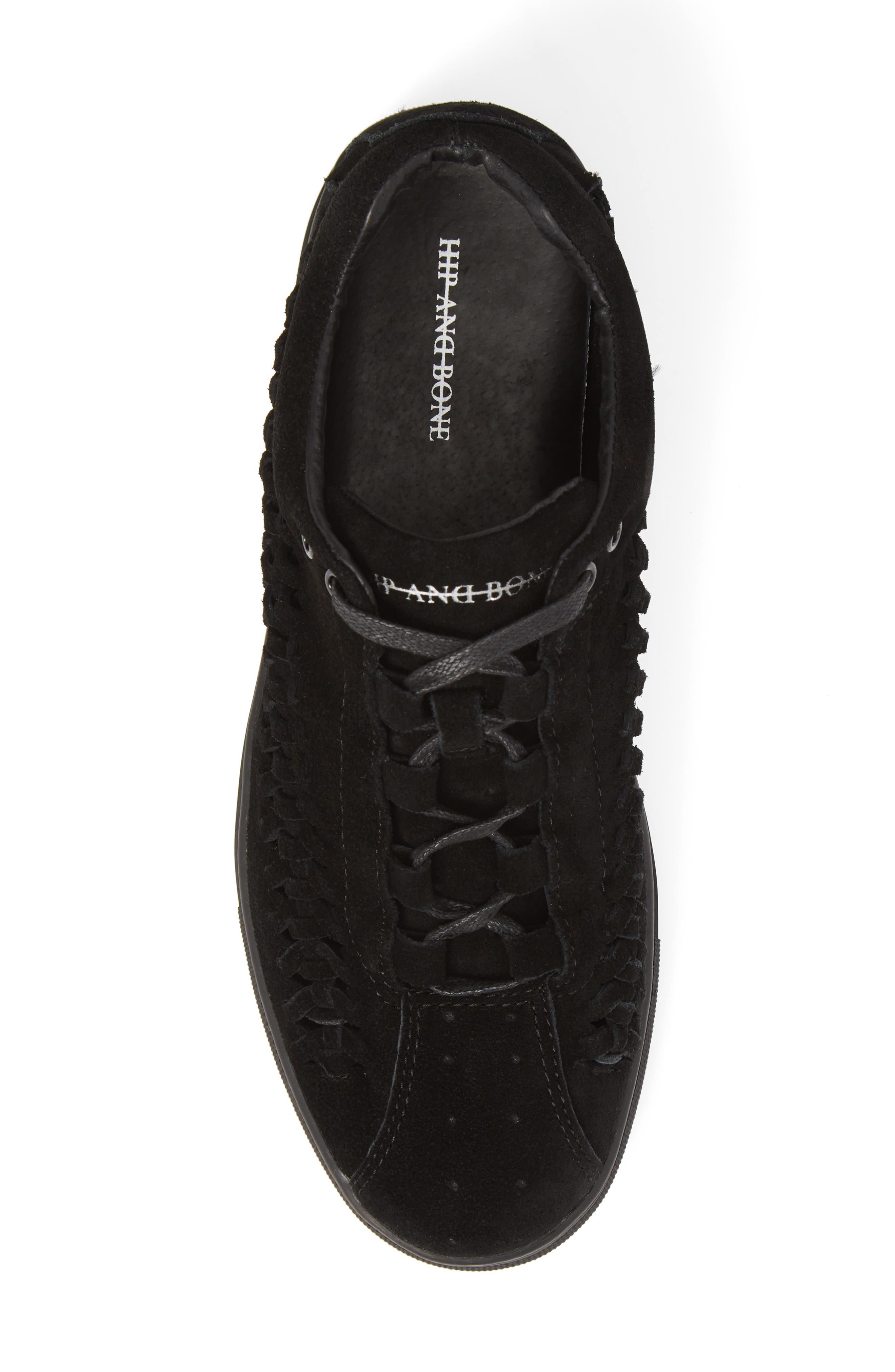 Leather Wire Sneaker,                             Alternate thumbnail 5, color,                             Black Suede