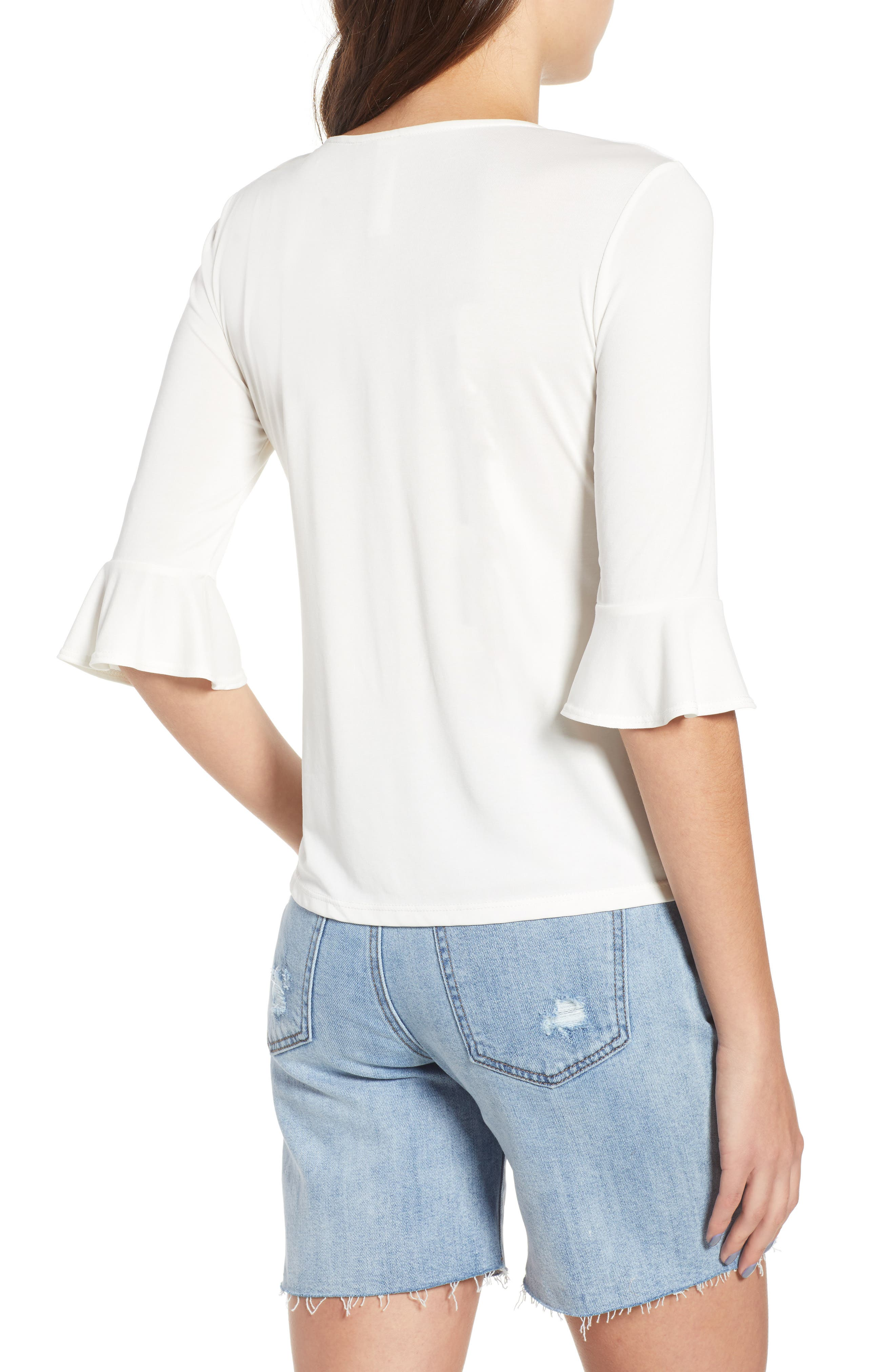Cinch Front Tee,                             Alternate thumbnail 2, color,                             Ivory