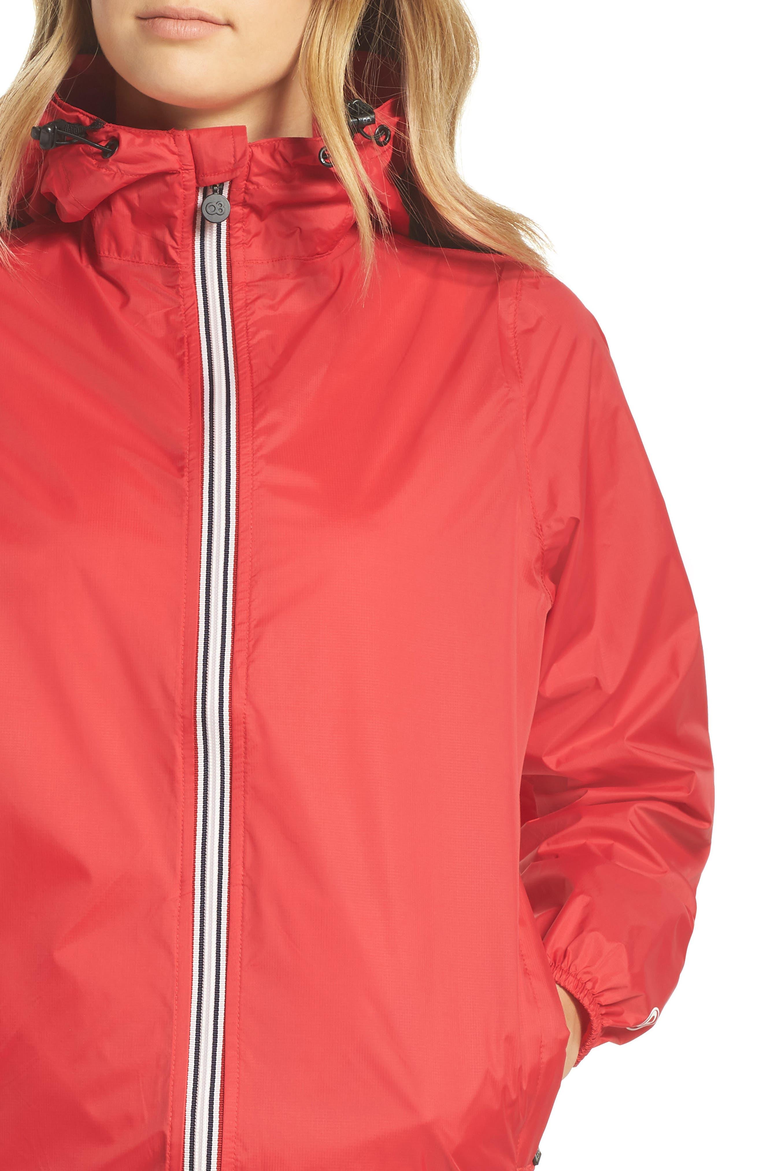 Packable Rain Jacket,                             Alternate thumbnail 4, color,                             Red