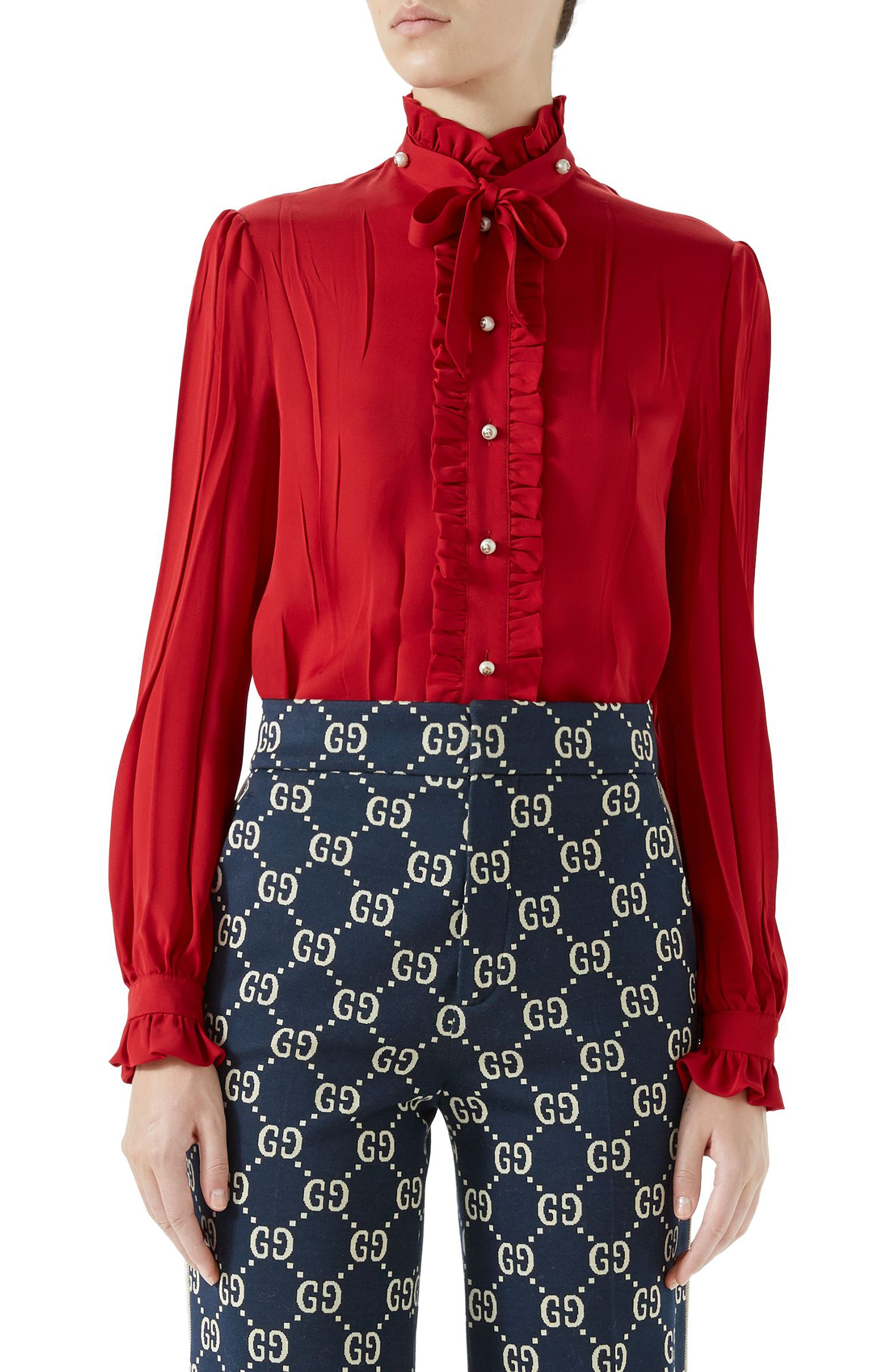 Tie Neck Ruffle Detail Silk Blouse,                             Main thumbnail 1, color,                             Hibiscus Red