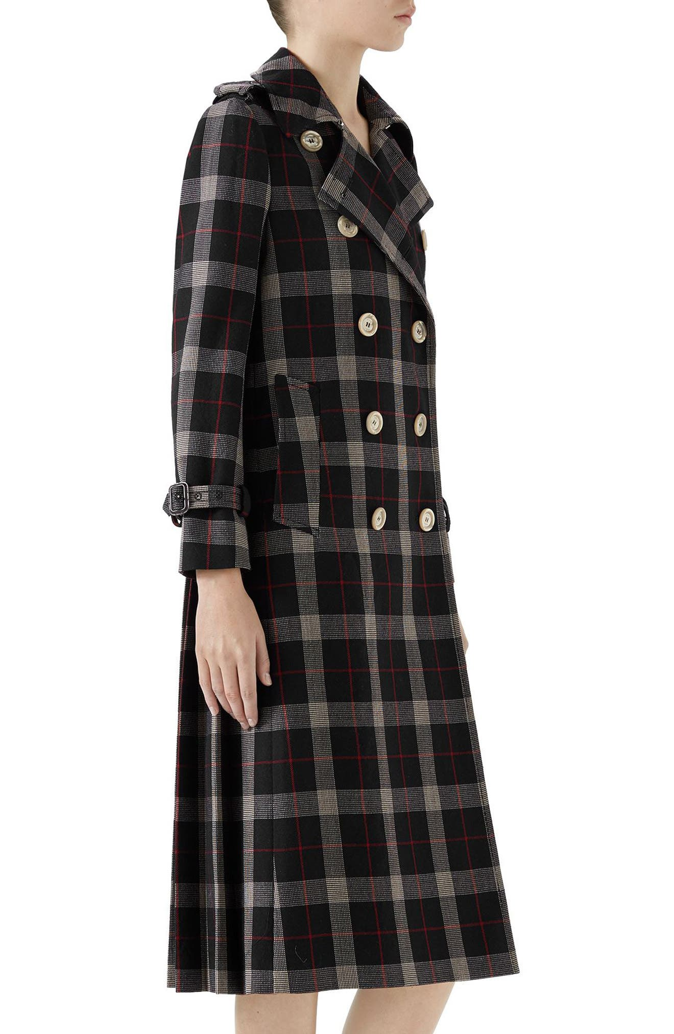 Oversize Check Pleated Back Coat,                             Alternate thumbnail 3, color,                             Ink/ Red/ Rose Bud