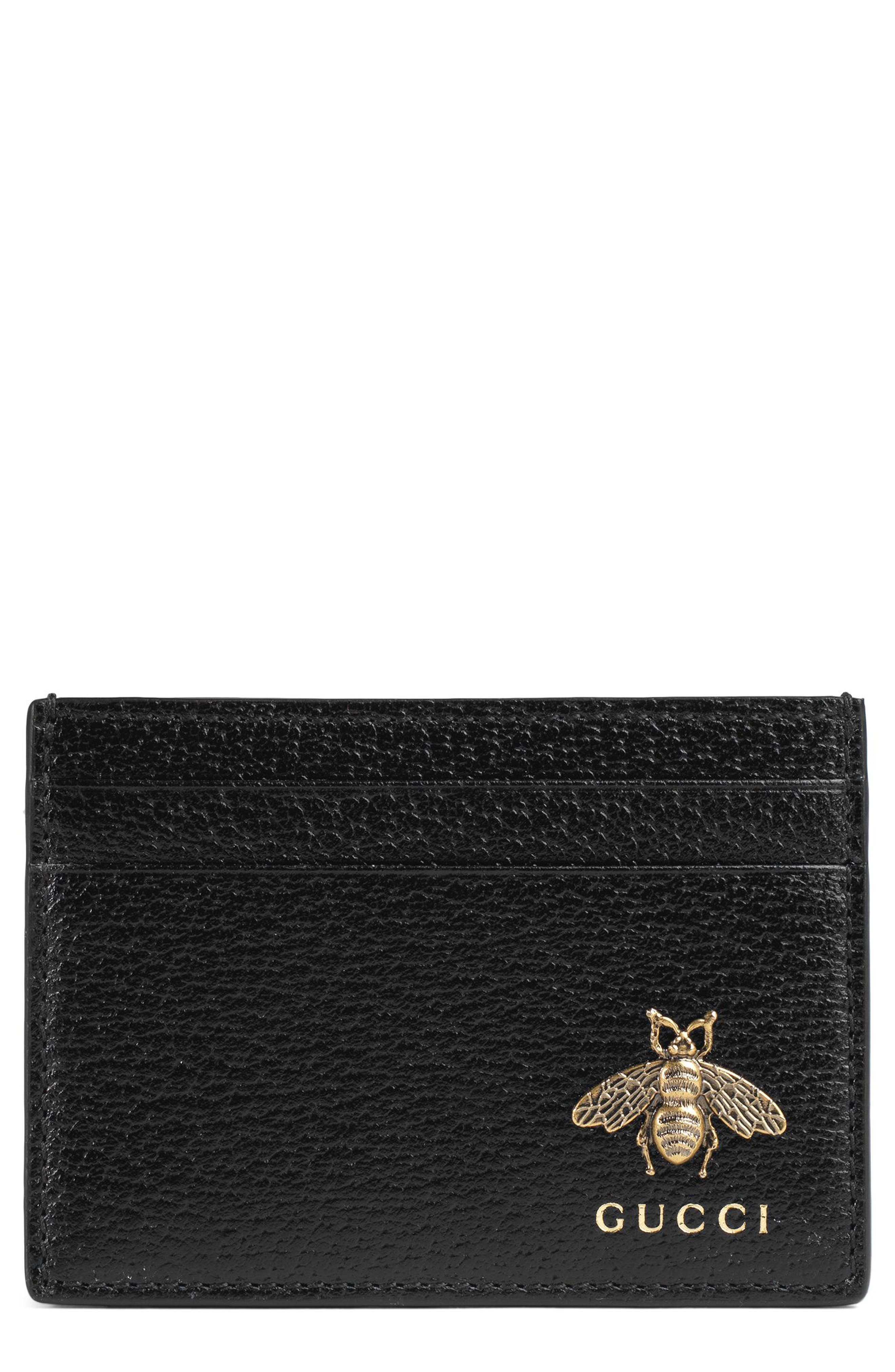 Bee Leather Card Case,                             Main thumbnail 1, color,                             Black