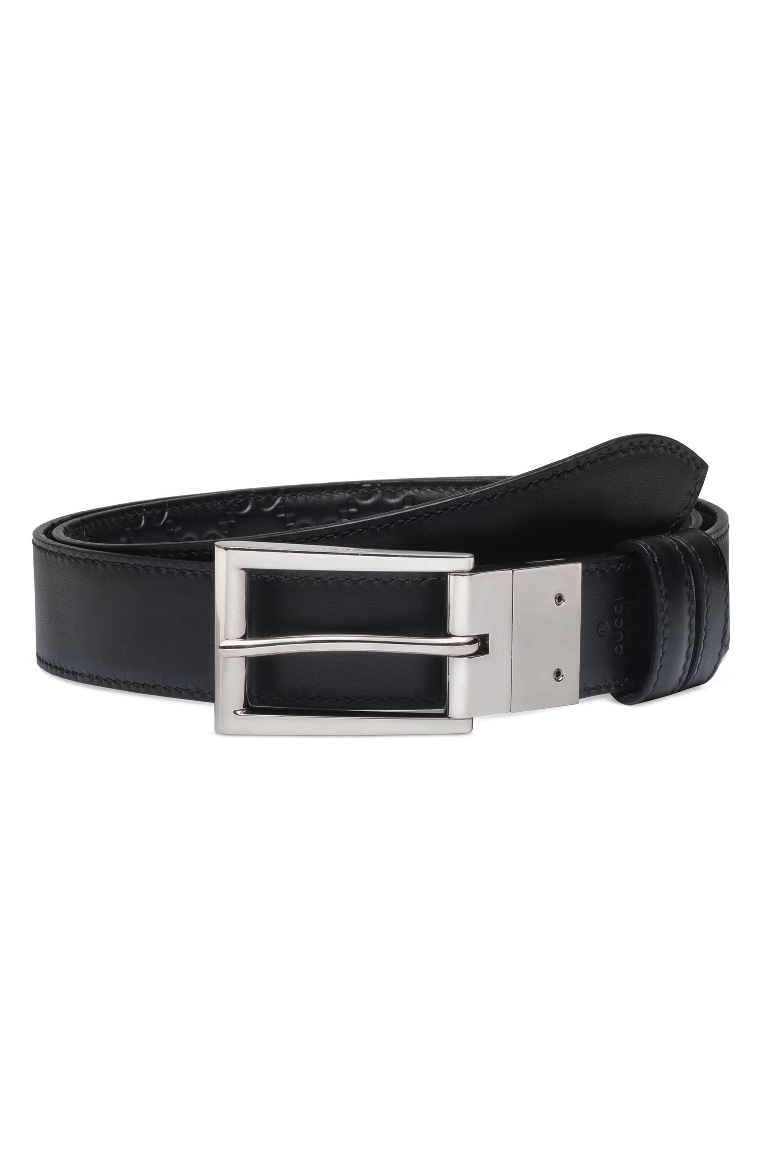 Reversible Signature Leather Belt,                             Alternate thumbnail 2, color,                             Black