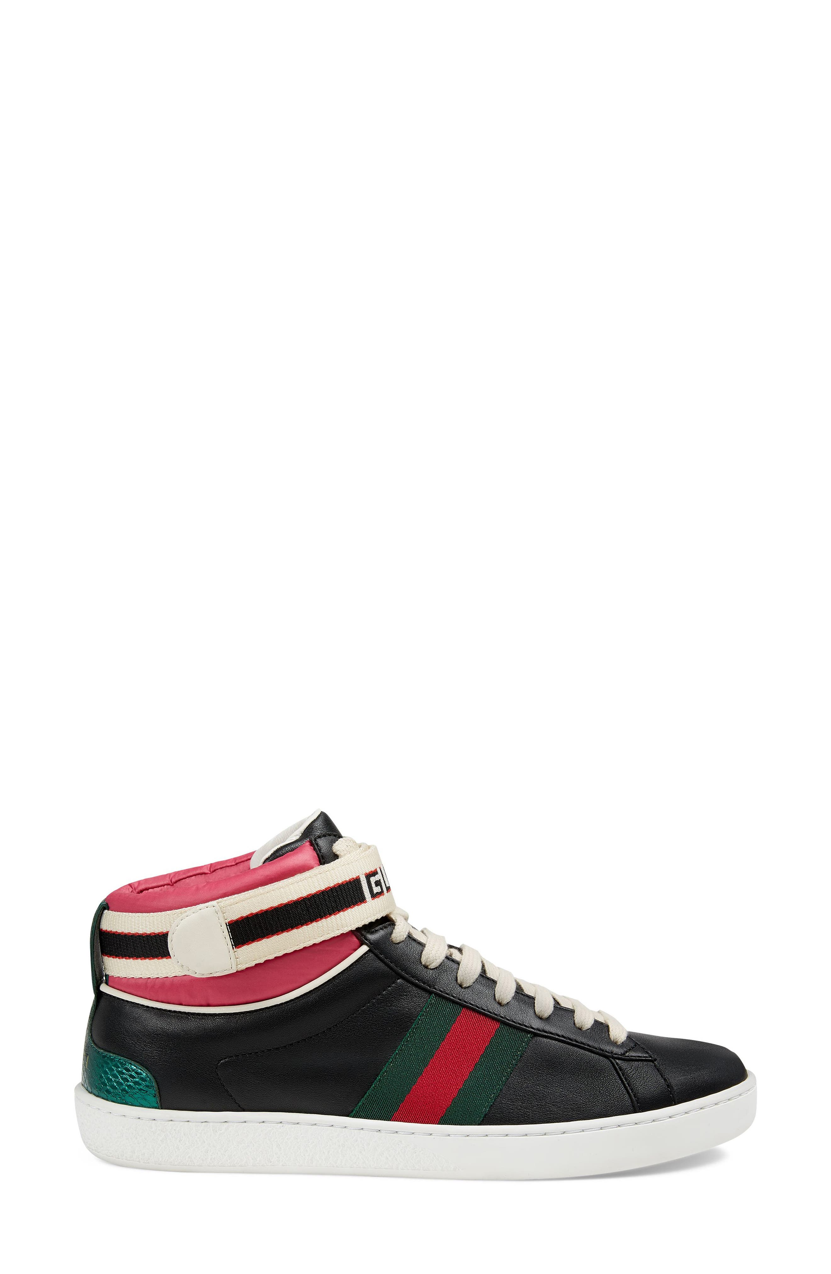 New Ace High Top Sneaker with Genuine Snakeskin Trim,                             Alternate thumbnail 2, color,                             Black