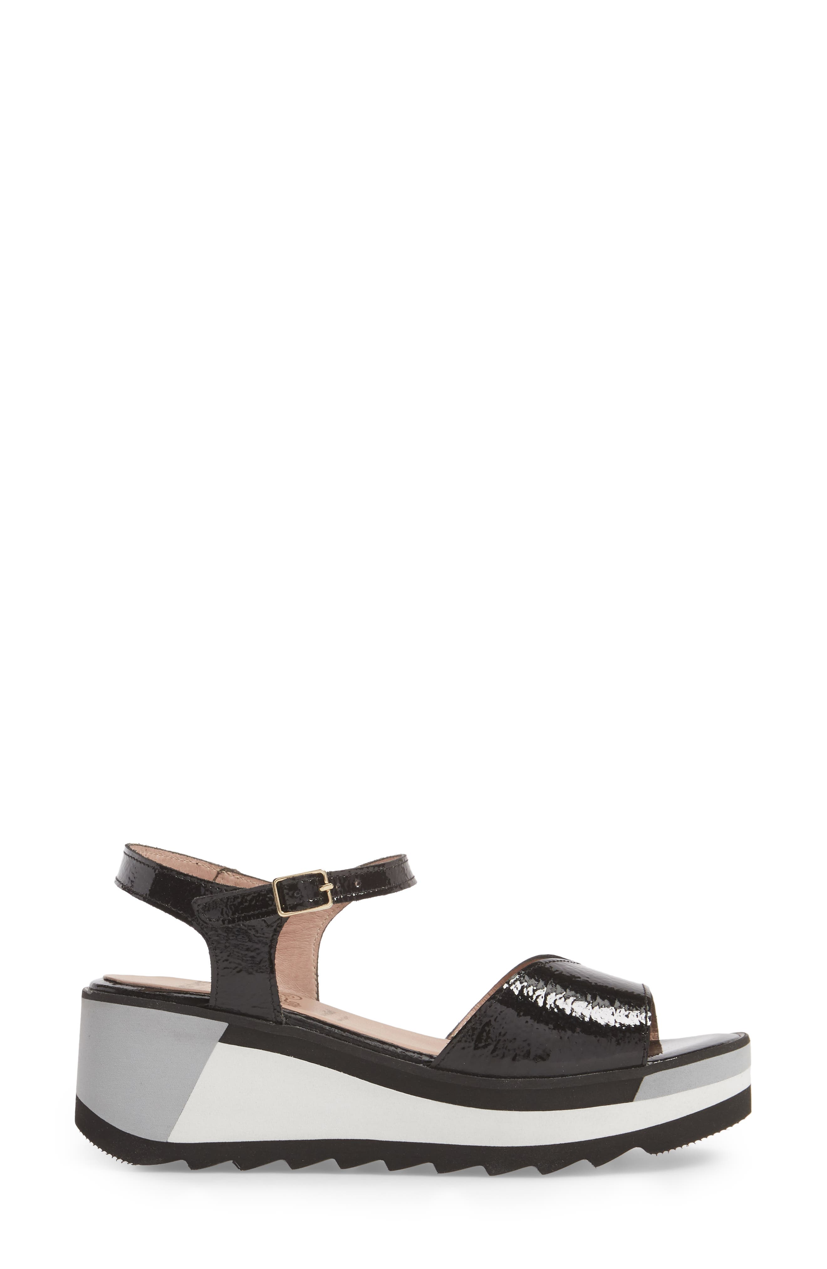 D-7810 Sandal,                             Alternate thumbnail 3, color,                             Black Patent Leather