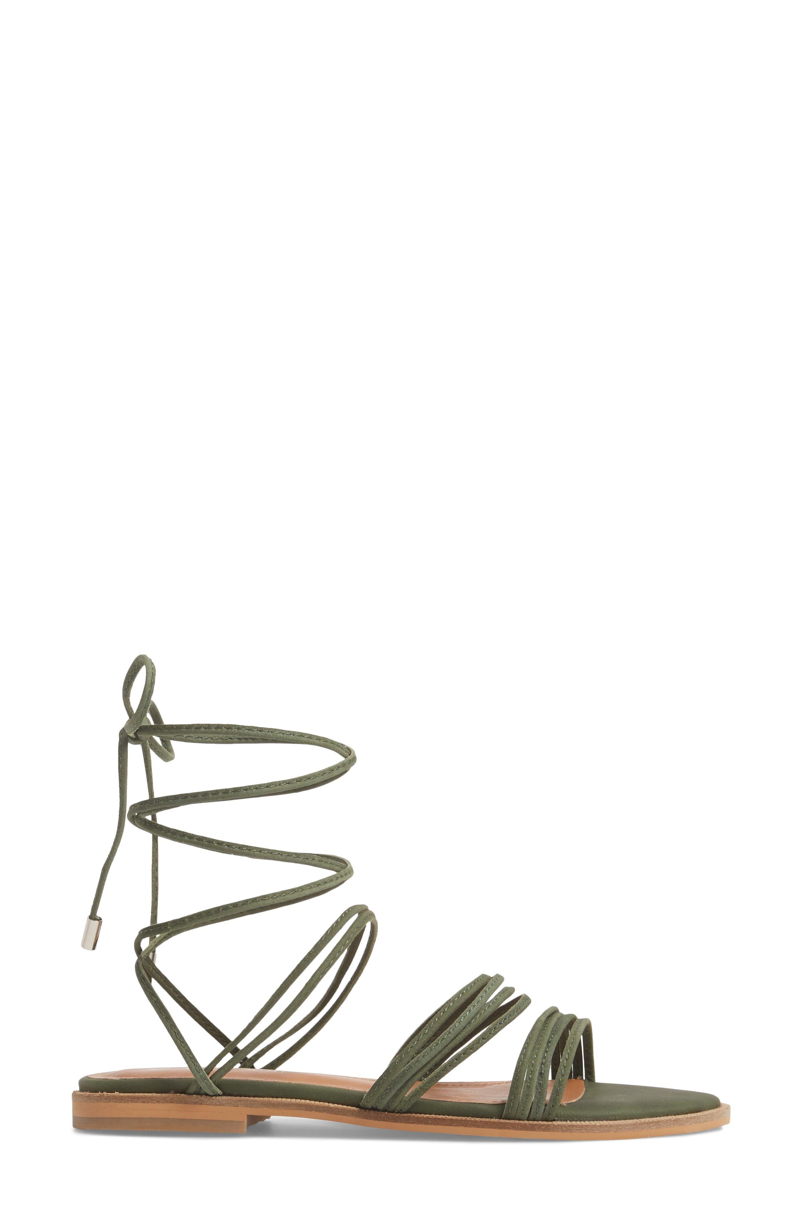 Theory Strappy Flat Sandal,                             Alternate thumbnail 3, color,                             Khaki Leather