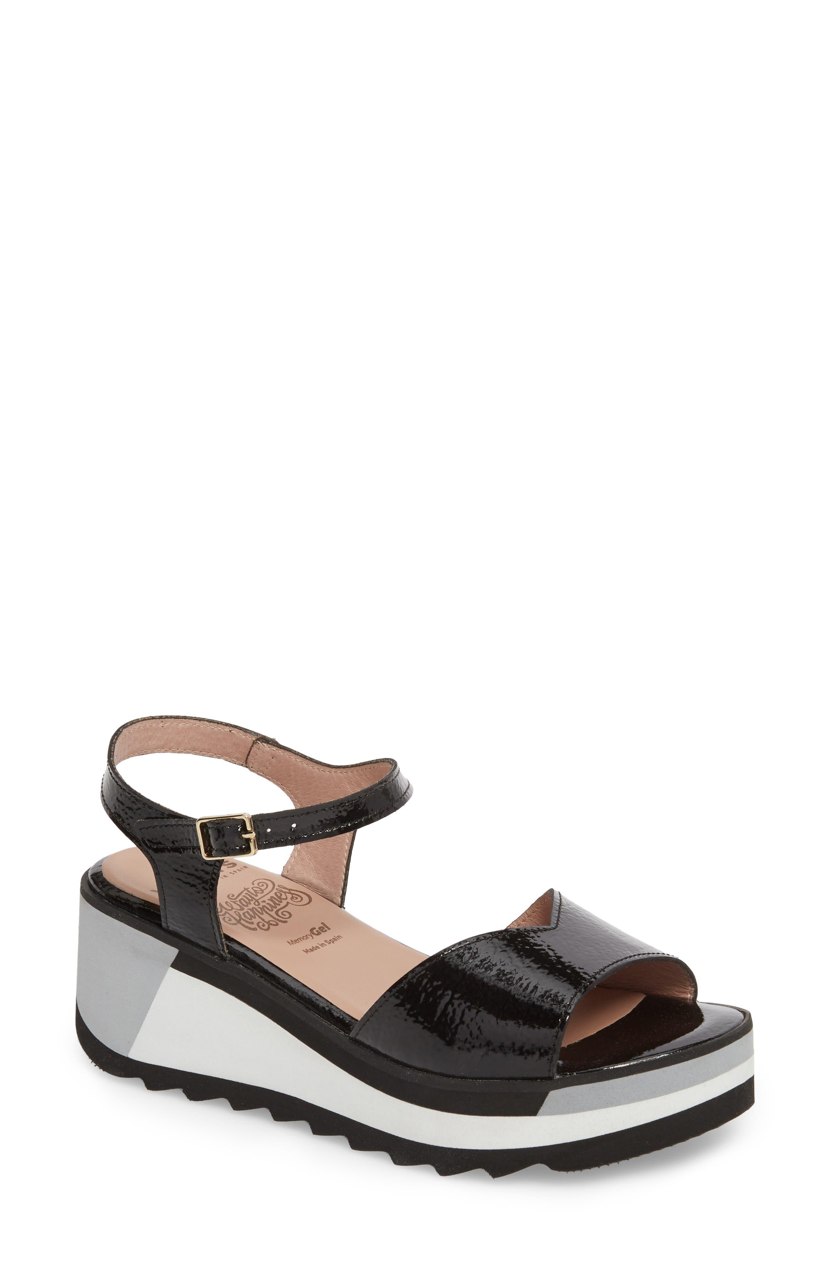D-7810 Sandal,                             Main thumbnail 1, color,                             Black Patent Leather